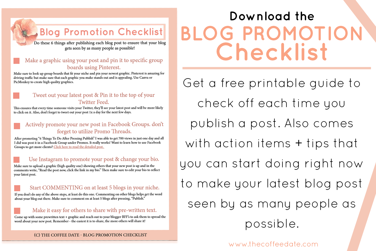 Click the photo to download the BLOG PROMOTION CHECKLIST.
