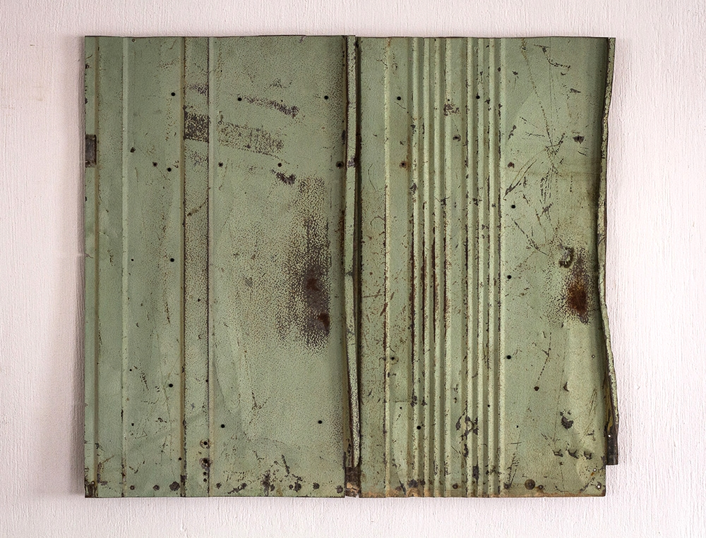Relief No. 1   2014  Found interior urban rusted bus panel assembled on wood and conserved with acryloid.  110 x 96 x 4.5 cm  Photo credit: Sebastian Lojo