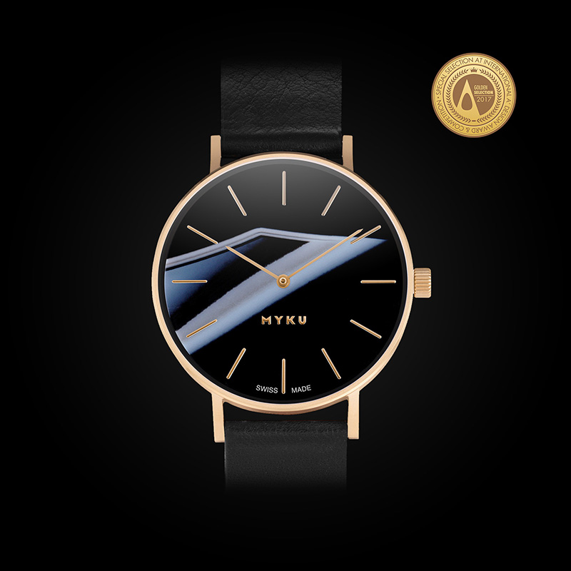 MYKU Black Onyx Gold Watch A'Design Award 2017