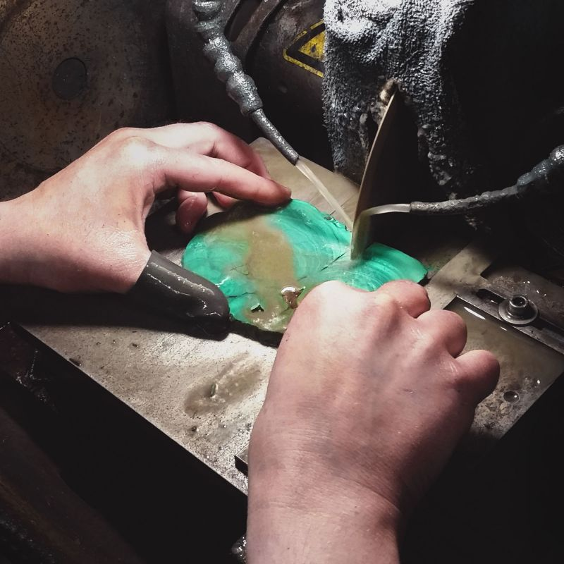 Stones are cut by expert artisans in Germany.