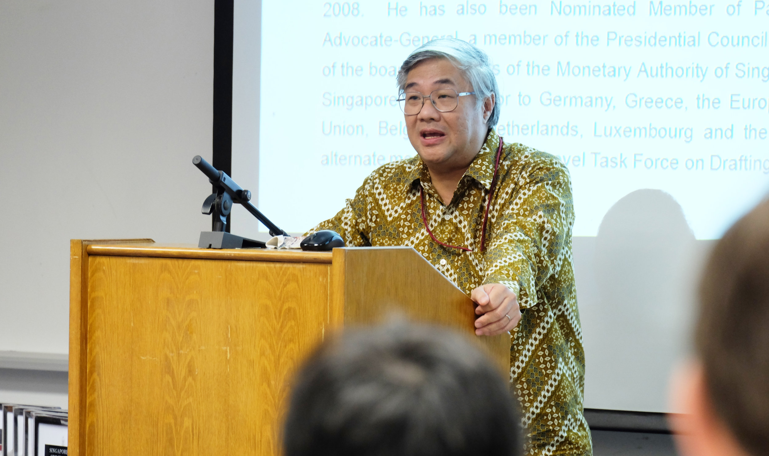 Professor Walter Woon SC delivering his keynote address.