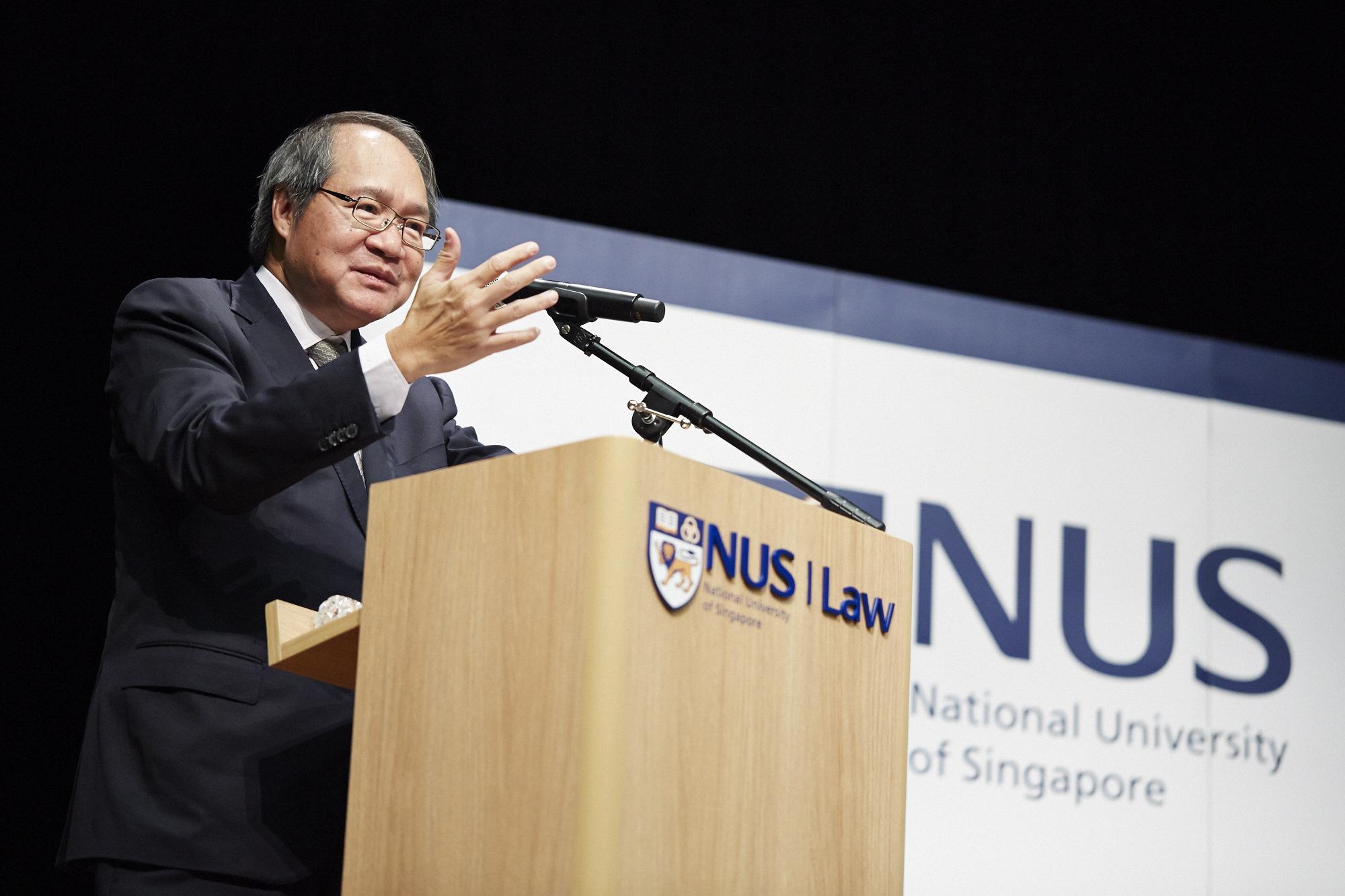 AG Lucien Wong giving his speech.