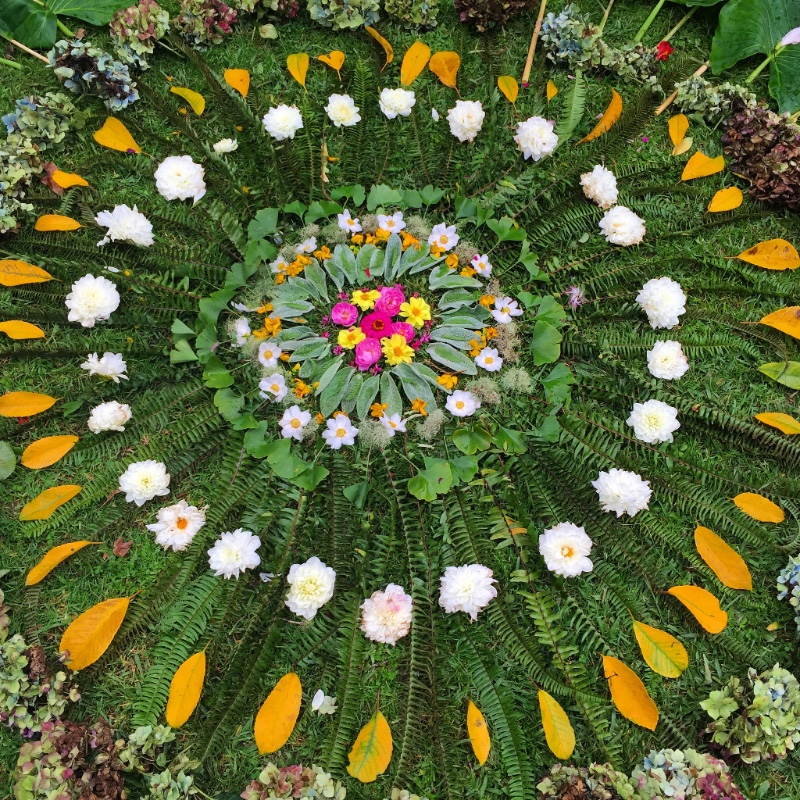 Oromahoe School Arts Week Nature Mandala made with Love and Gratitude by Kids