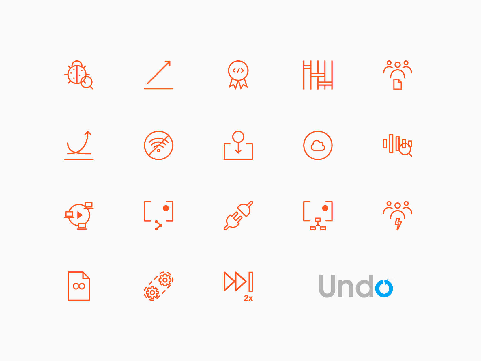 Undo.io project bespoke icon set, by Chiara Mensa for Onespacemedia
