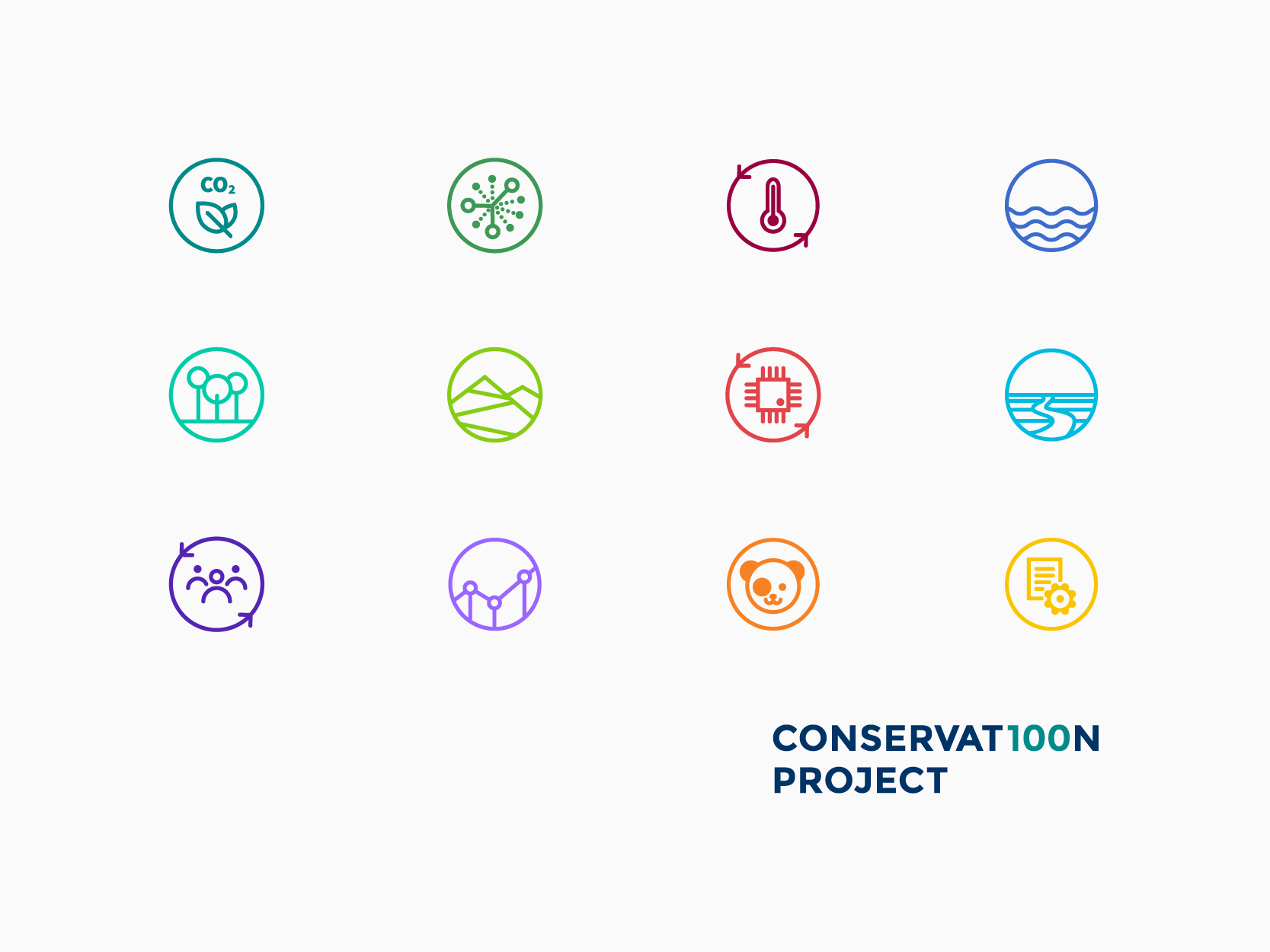 Conservat100n project bespoke icon set, by Chiara Mensa