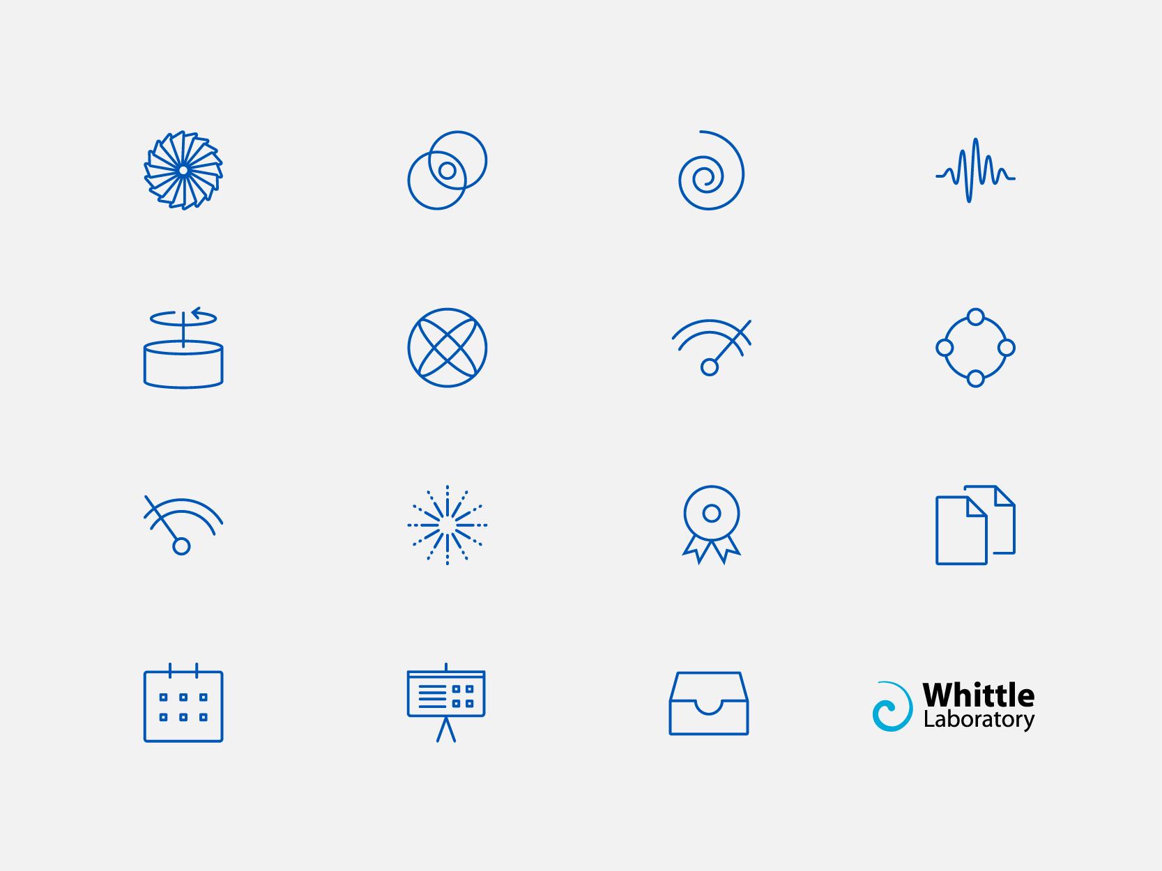 Whittle laboratory icon set, by Chiara Mensa for Onespacemedia