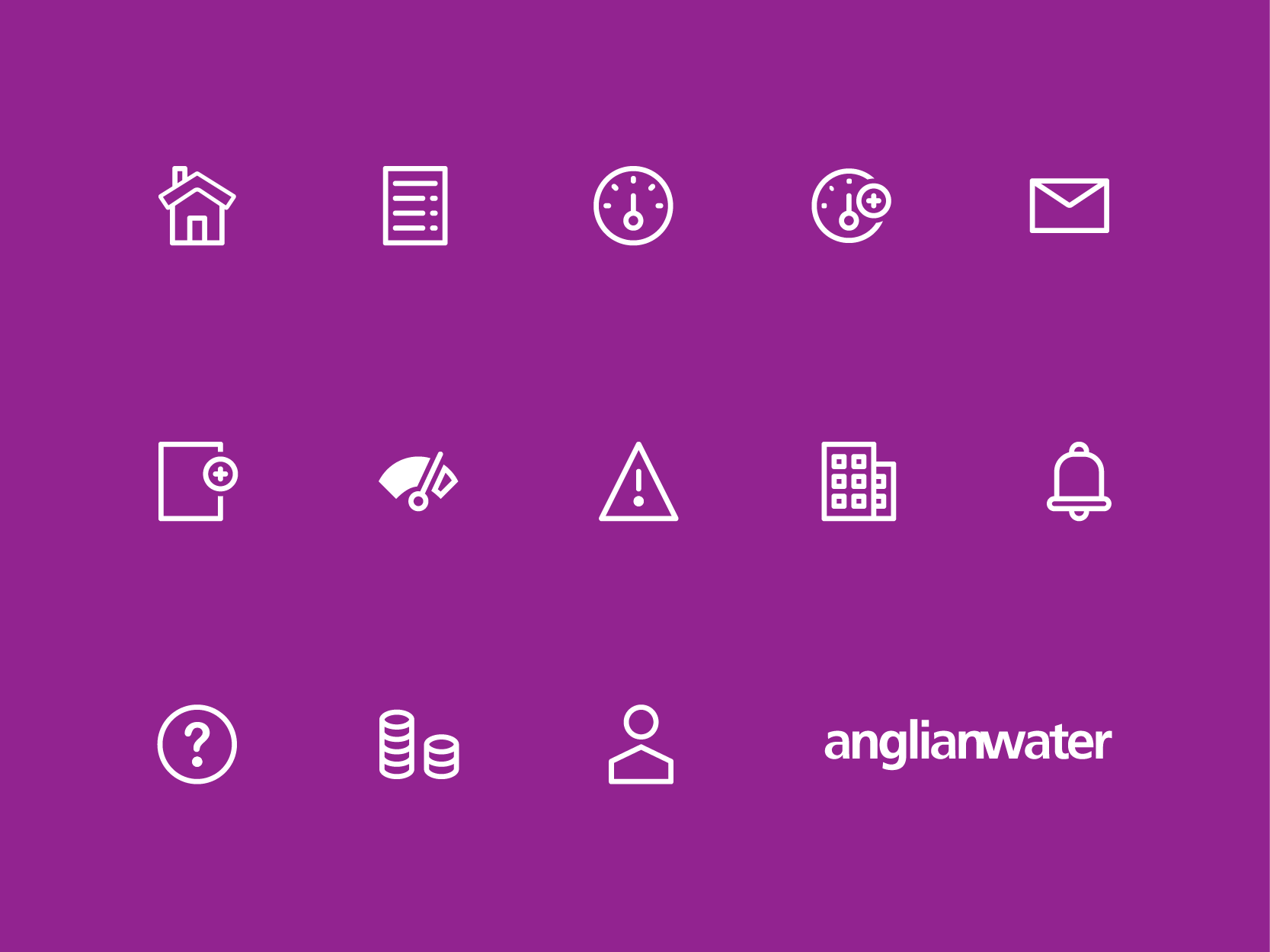 Anglia Water business icon set, by Chiara Mensa for Onespacemedia