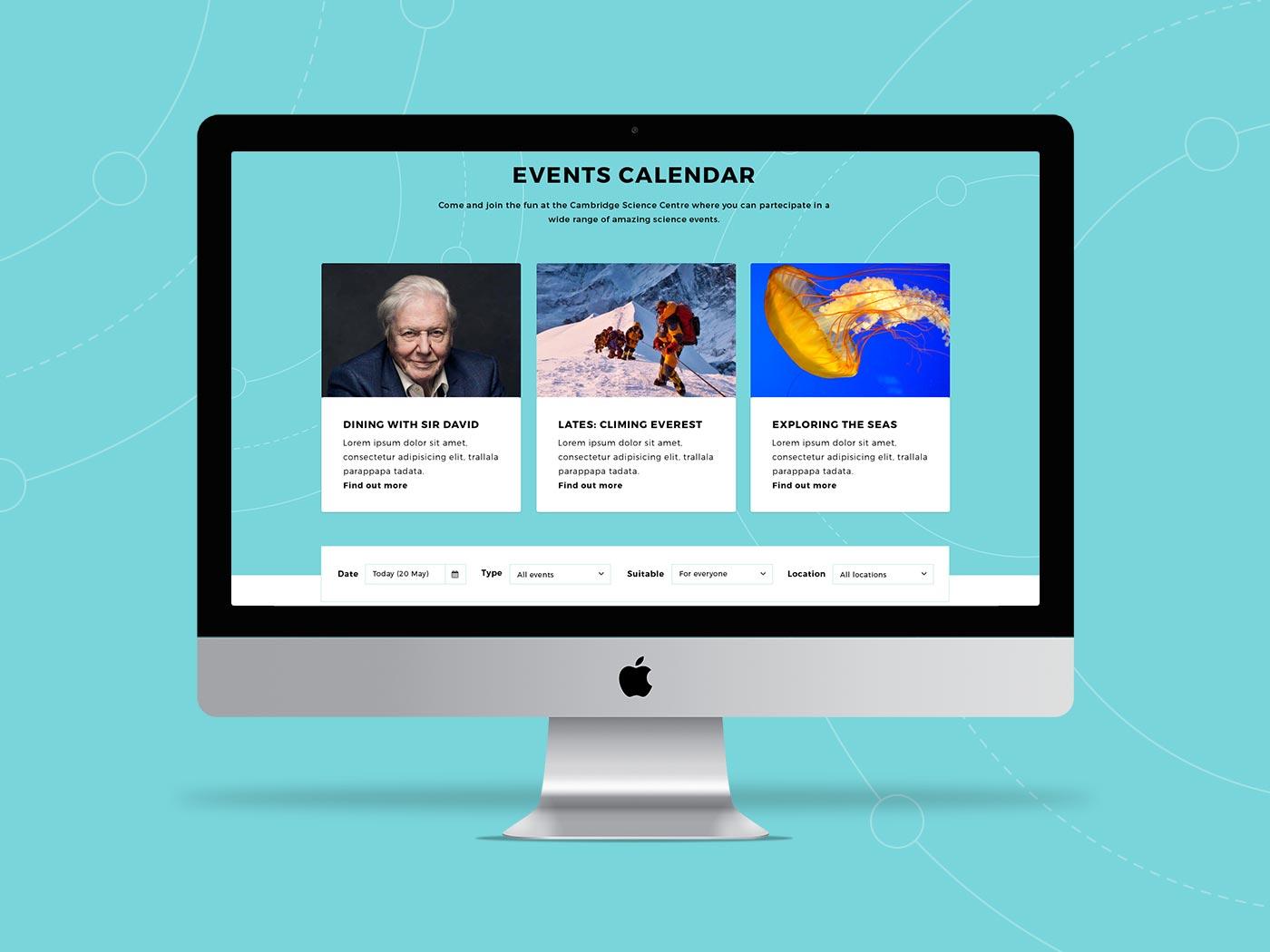 Events calendar, by Chiara Mensa