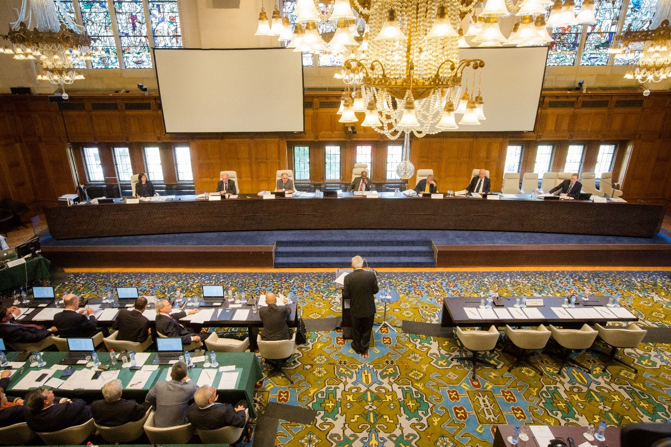 Photograph: Hearing in session, July 2015, Peace Palace, The Hague, Photo Credit:  The Permanent Court of Arbitration