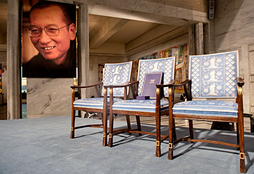 As a tribute to the absent Nobel Laureate, Liu Xiaobo's Nobel Medal and Diploma were placed on an empty chair during the Nobel Peace Prize Award Ceremony in Oslo, Norway, 10 December 2010. Copyright © The Nobel Foundation 2010 Photo: Ken Opprann