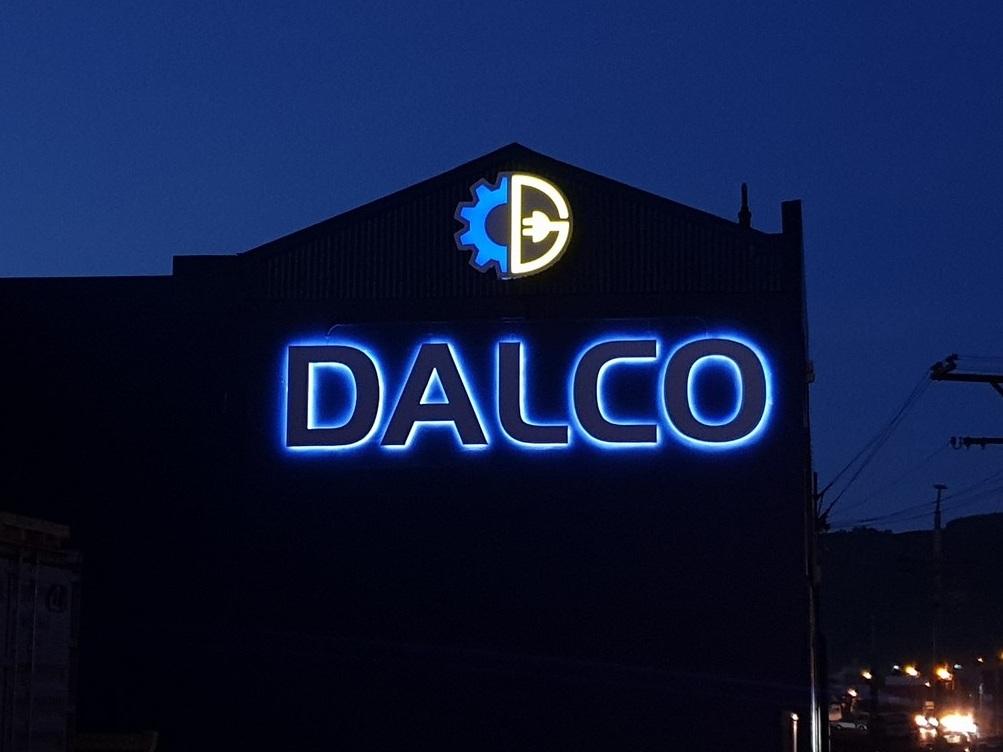 Illuminated Dalco exterior business sign