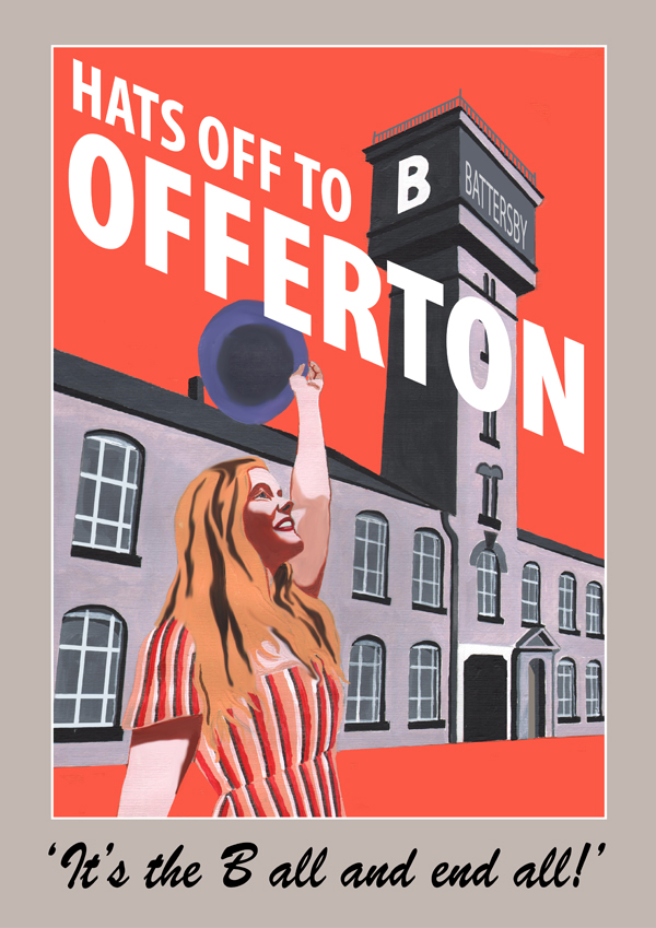 Offerton poster, featuring the Battersby hat factory and Imogen Francesca Hart