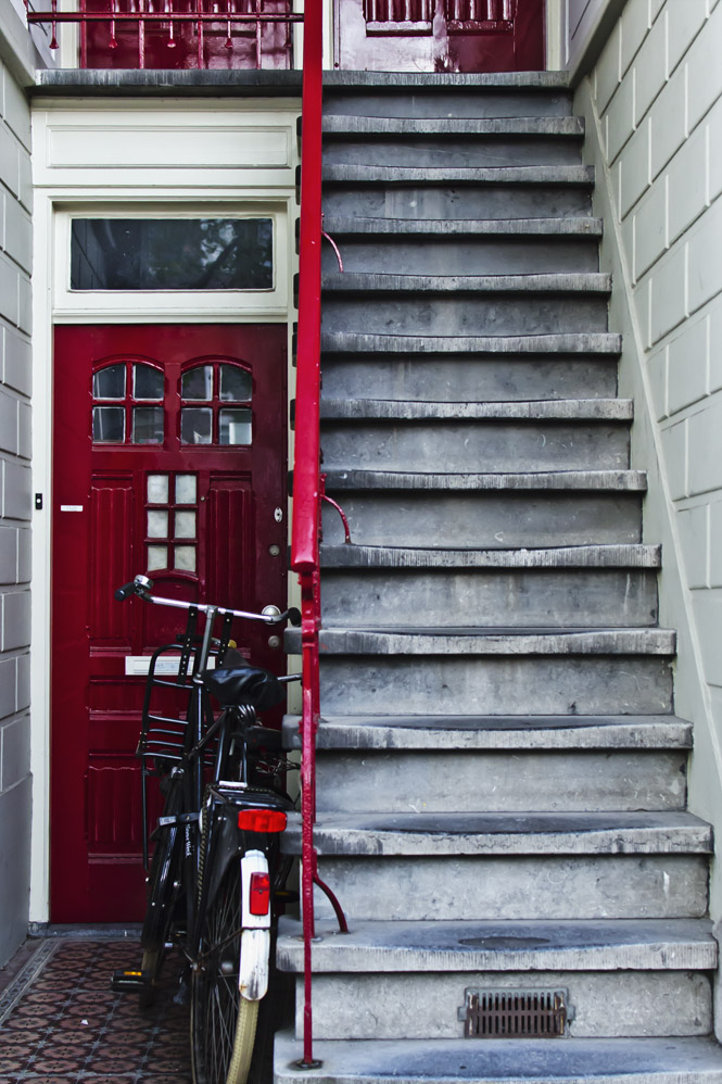 'Amsterdam #77: Red doors, bicycle and steps'
