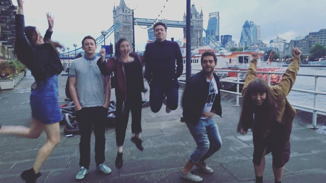 Synchronised jumping in London
