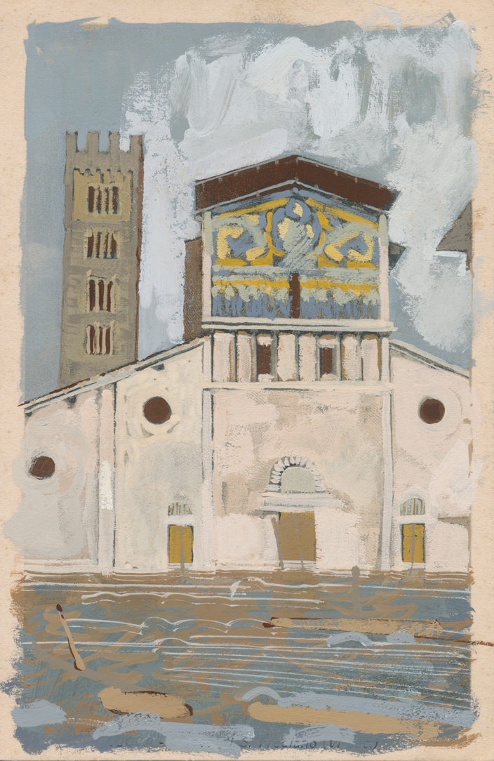 Basilica of San Frediano  Exaggerated Inundation in Lucca • Based on imagery of Lucca's 1996 flood • 9 x 14cm • Available for purchase