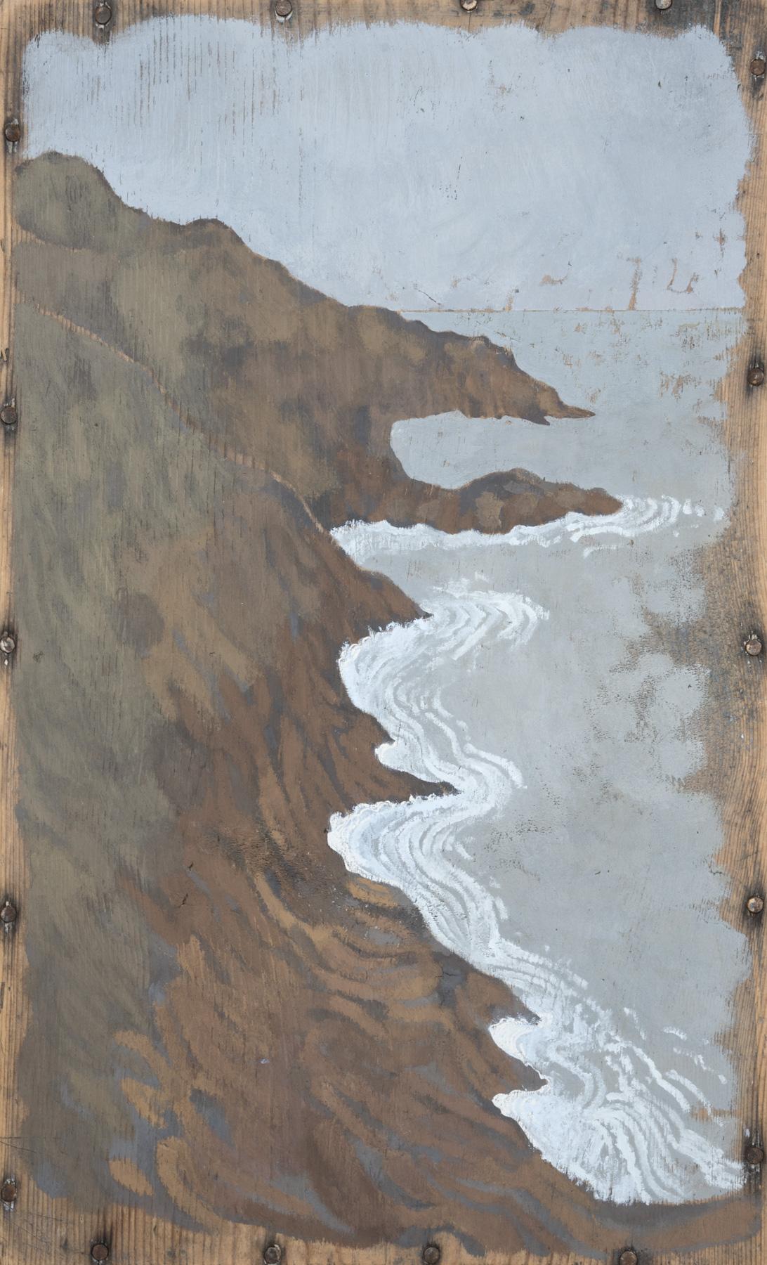Coast  2013 27.5 x 44 cm · Gouache & tube watercolour on box lid