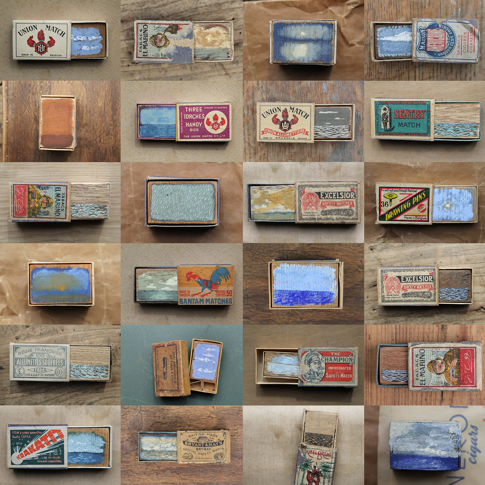 Gathered Seconds I - XXIV  2010 - Present 8 x 3.5 cm (approx) · Gouache and matchboxes Email for availability