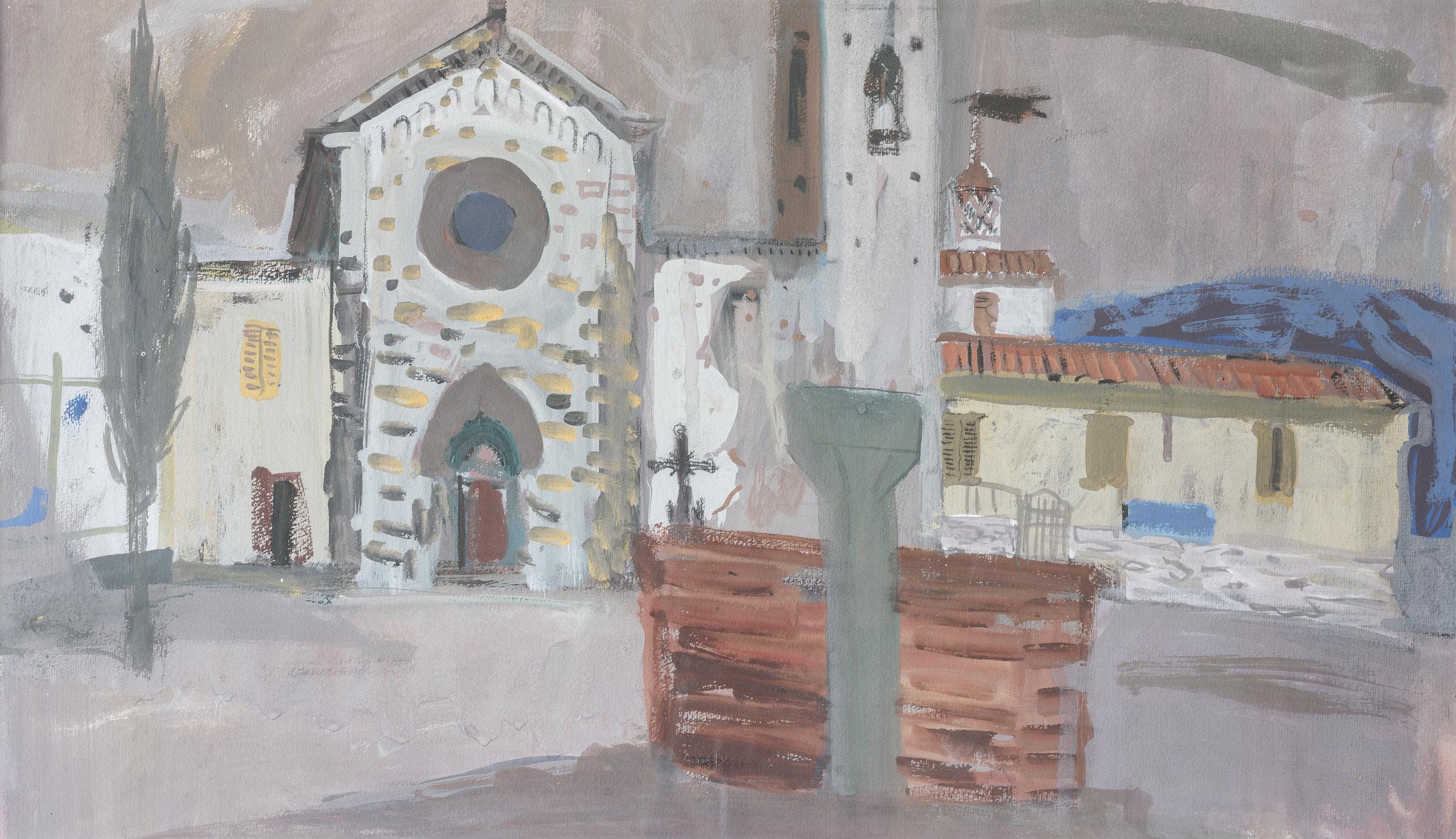 David McClure: Church and Square, Fiesole 1956 • Gouache • 37 x 59 cm  Courtesy of the David McClure Estate • Photographs: David Cass
