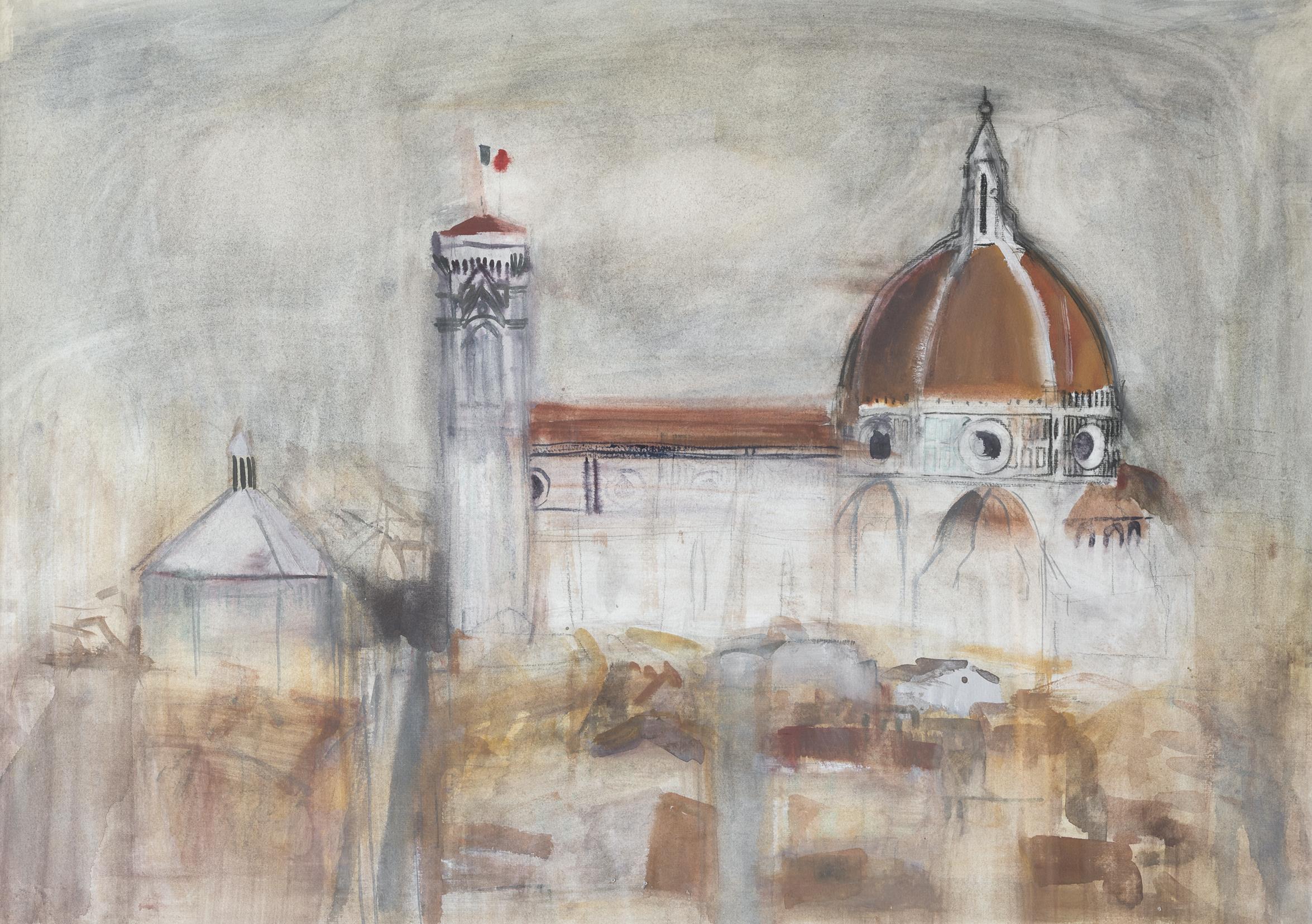 David McClure: Il Duomo, Florence, 1956 • Watercolour • 49 x 69 cm