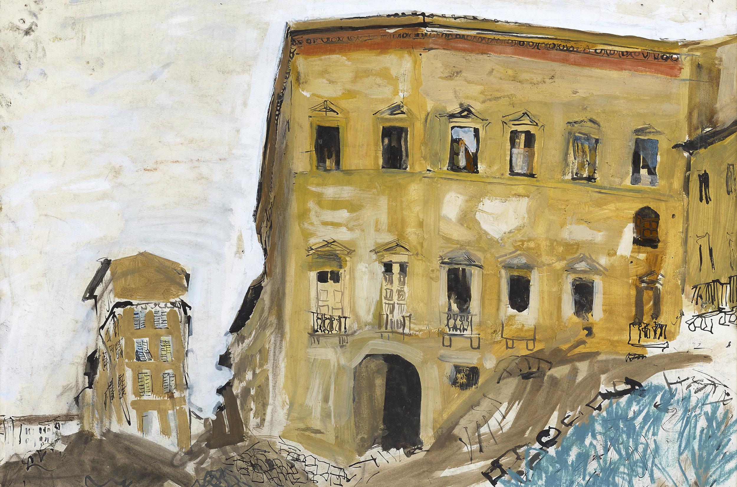 Joan Eardley:  Building, Palazzo Type  (1948) Gouache 49 x 42 cm