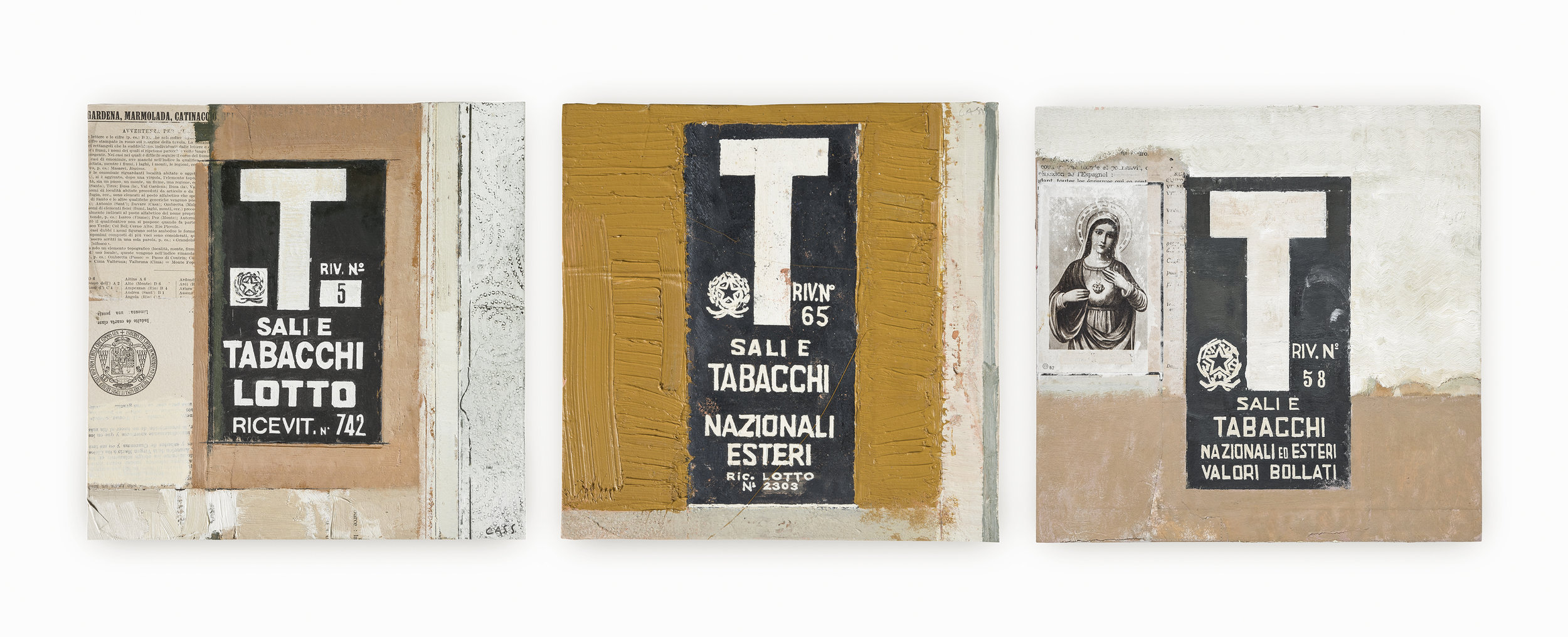 Trio of Tabacchi Signs  2017 Oil on panels and recycled papers · 30 x 30 cm (framed) Currently available as fundraising artworks for Cass' 2021 Venice showcase: info@davidcass.art