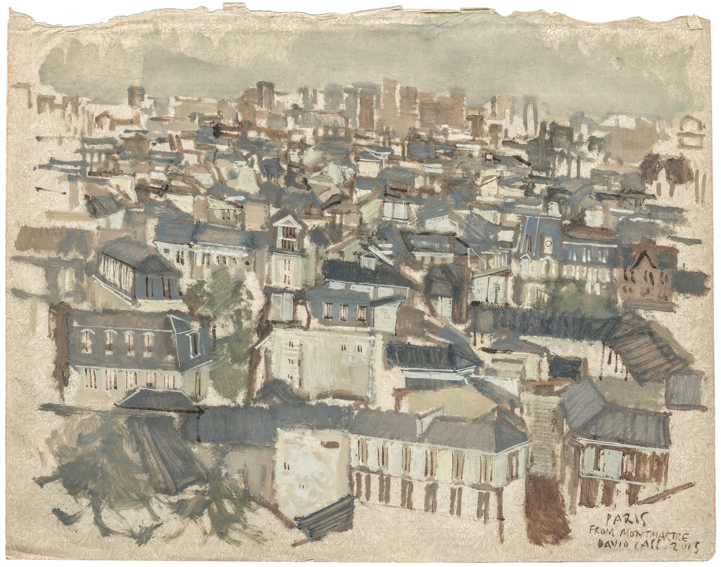 Paris  from Montmartre I Gouache + watercolour on antique A4 paper  Part of a series of Paris street studies started on location & completed in the studio