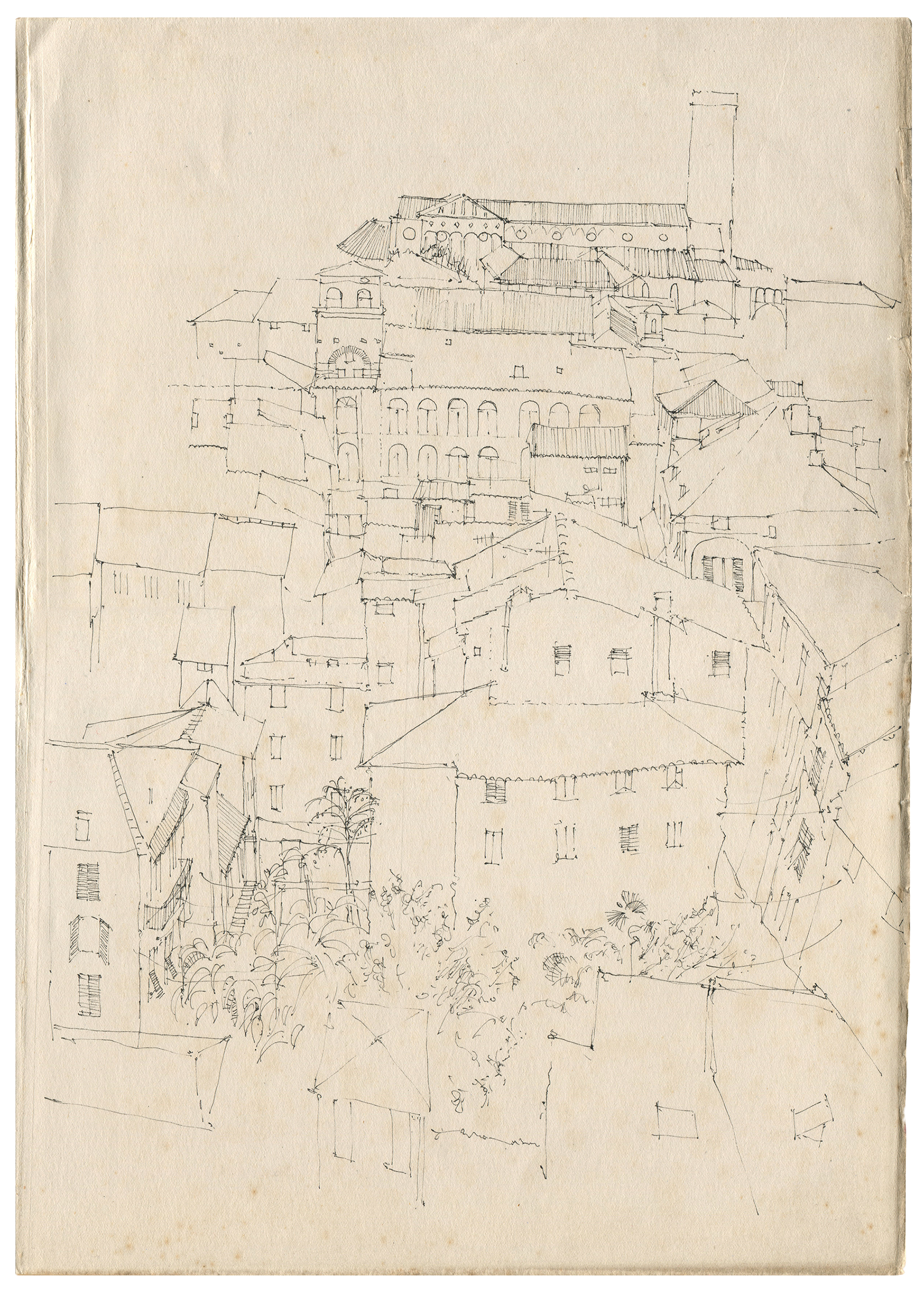 Lucca  from Torre Guinigi Pen on antique paper (25 x 33cm)  Part of a series of Lucca on-location drawings