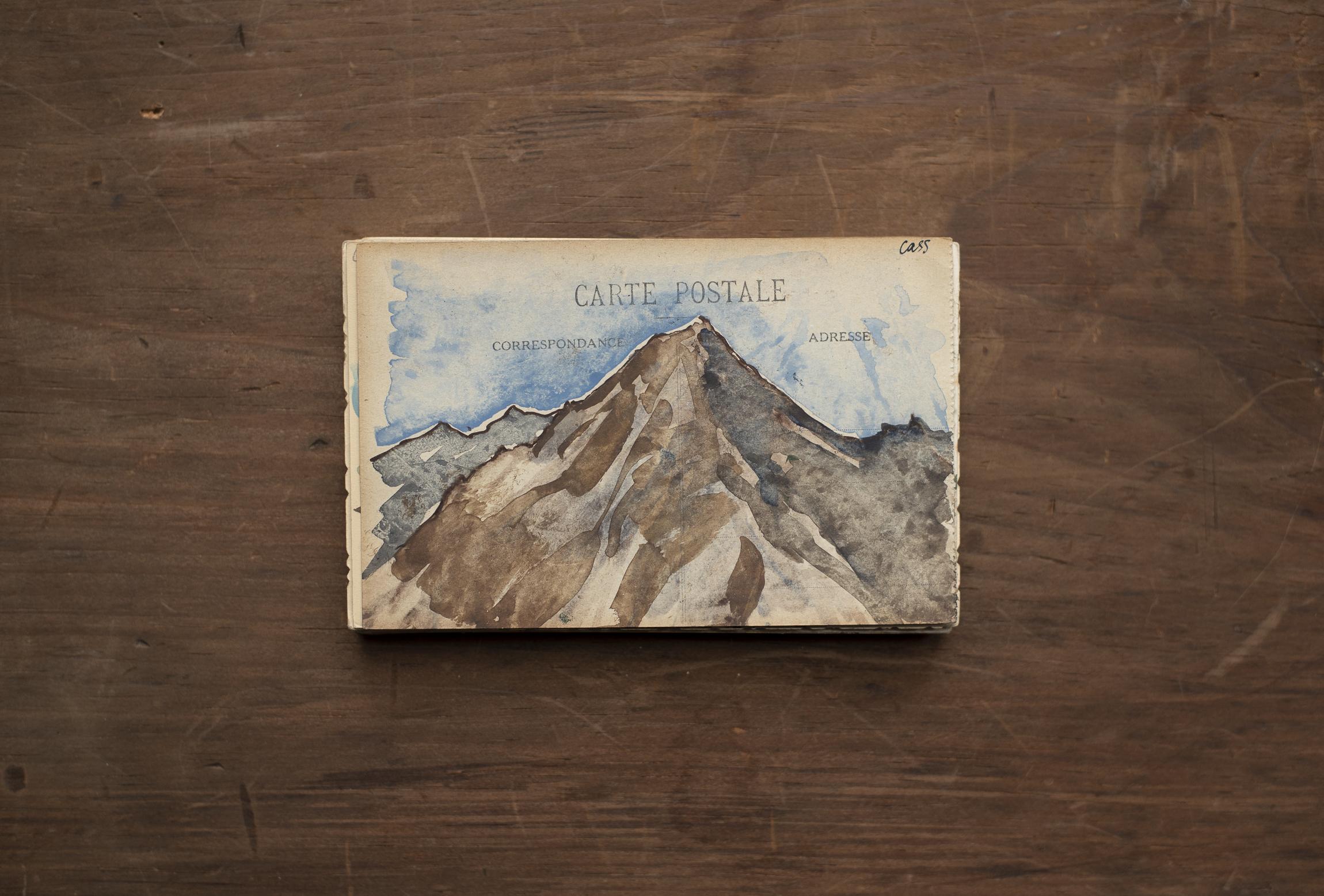 Les Cinq Lacs: Series  Watercolour on postcard