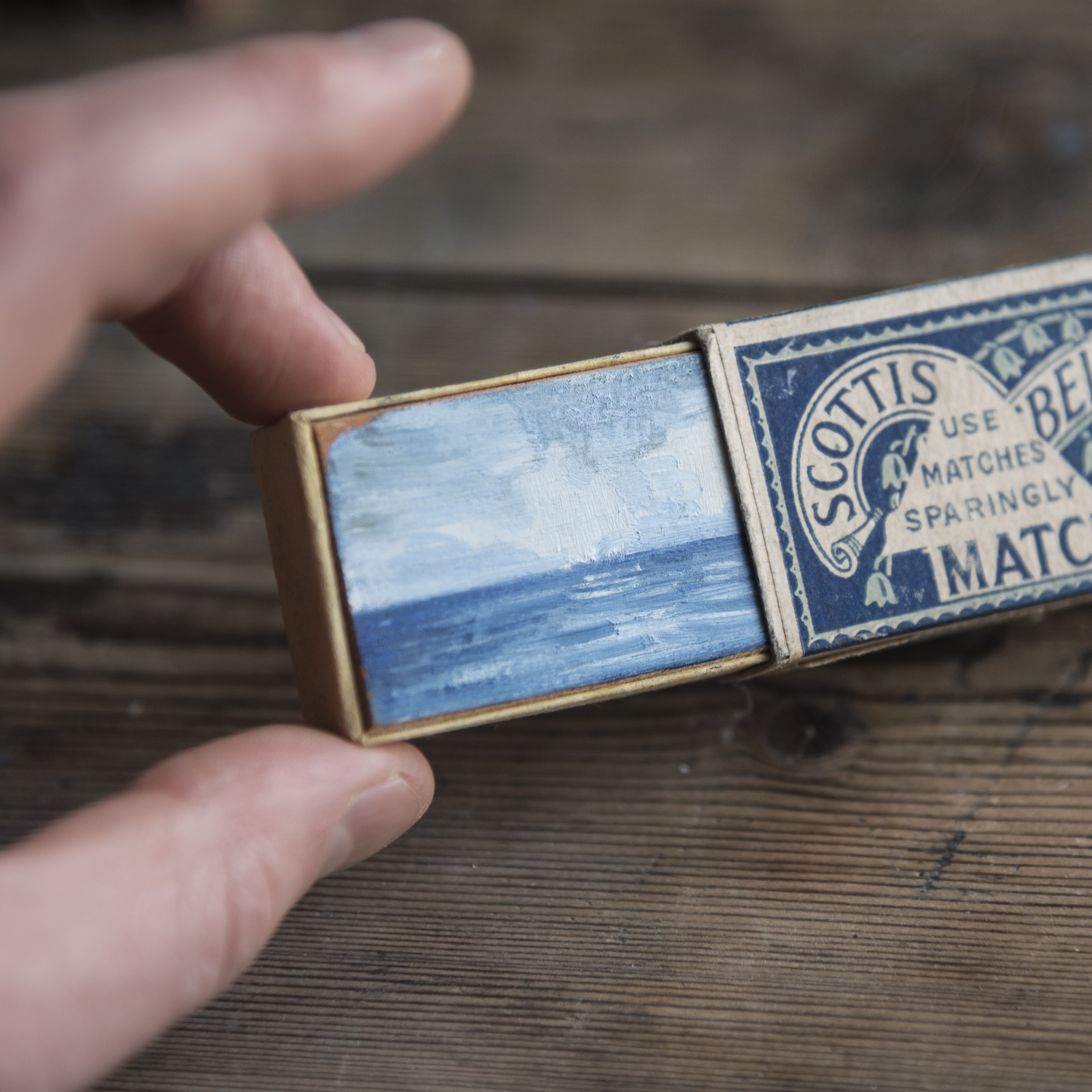 Matchbox Seascape  Painted  Scottish Bluebell  matchbox