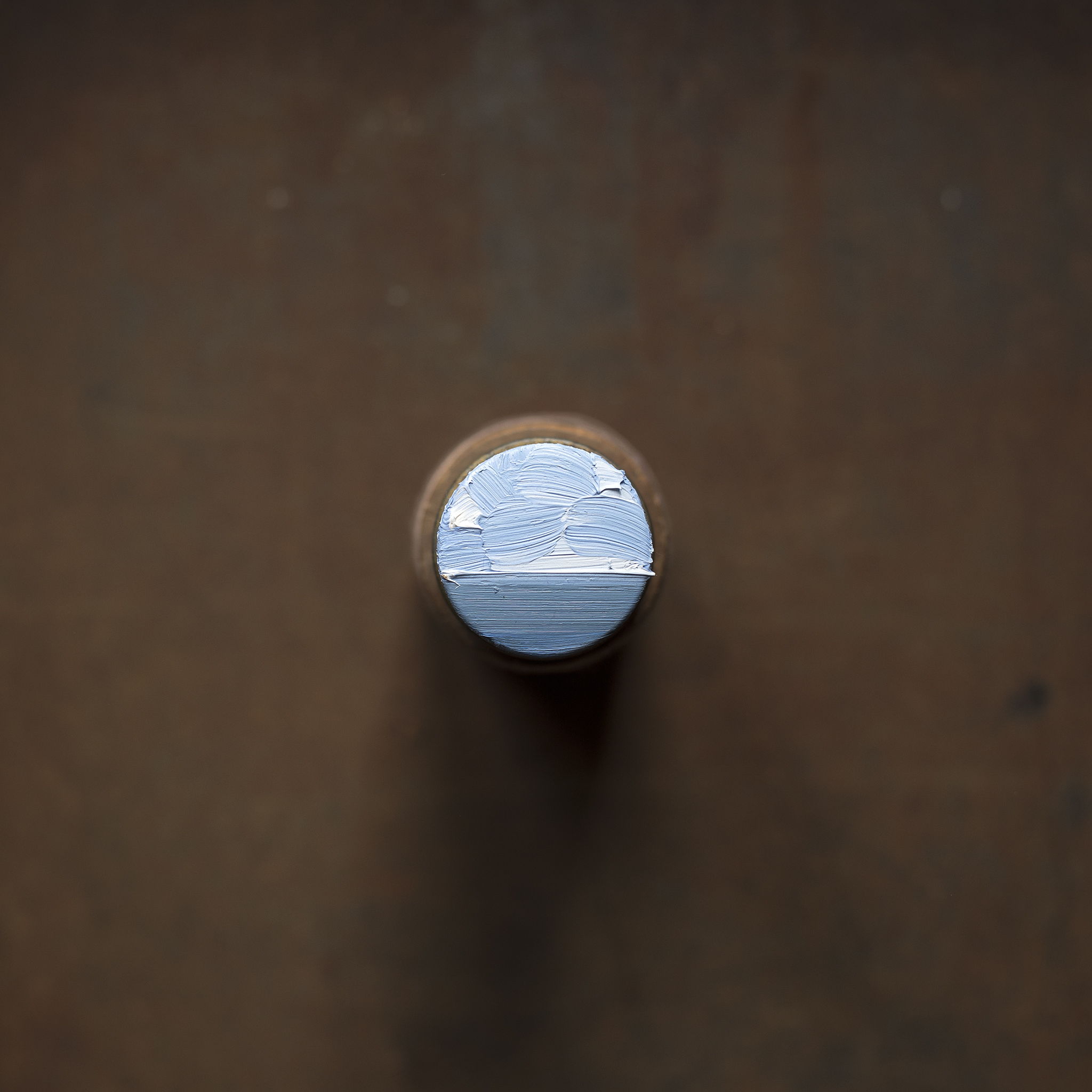 Arctic  (2017) oil on stacked cylindrical pill tin and thread spool, H:10cm W:4cm