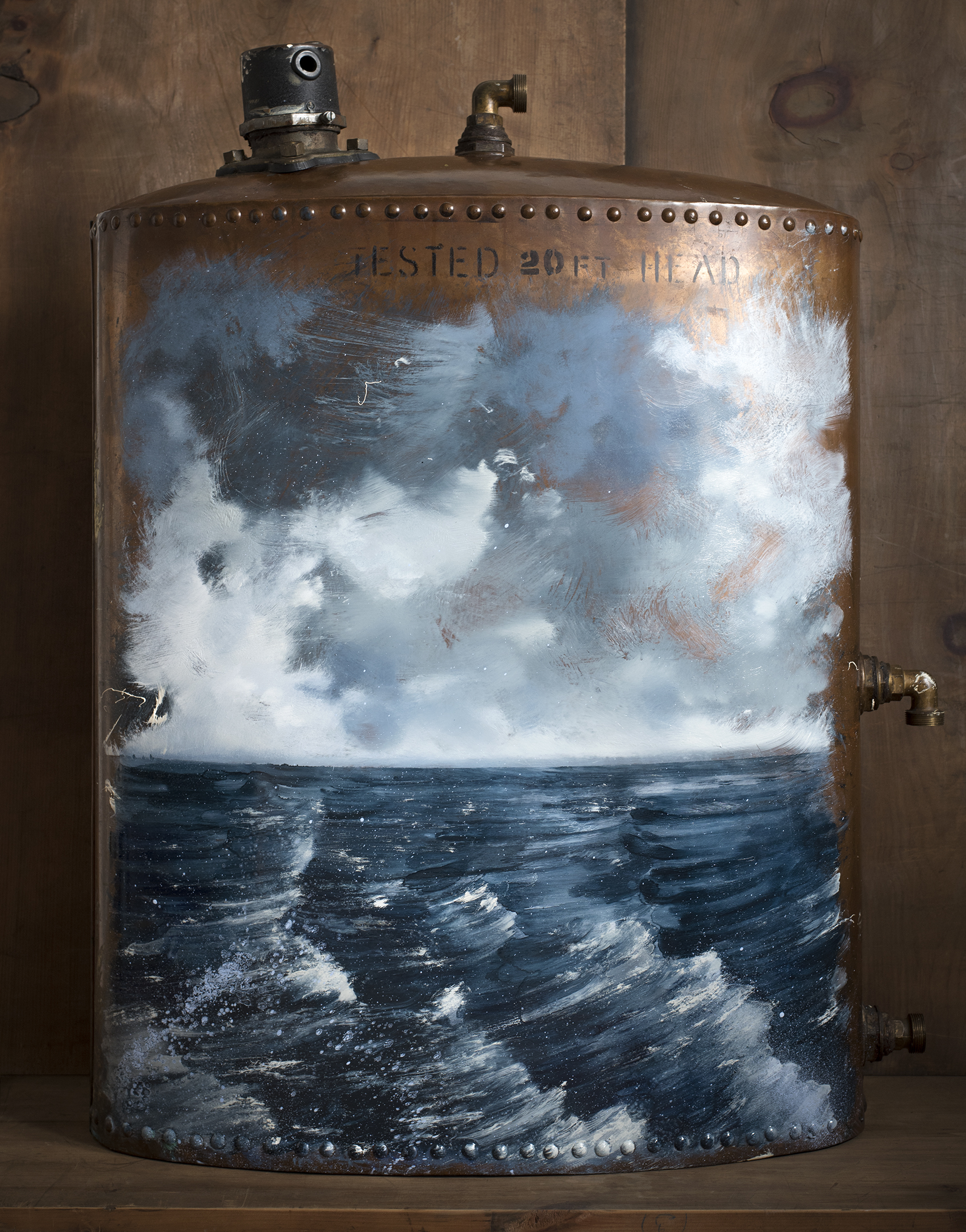 Horizon 42%  2017–2019 Oil & varnishes on copper boiler · 79 x 70 x 30 cm