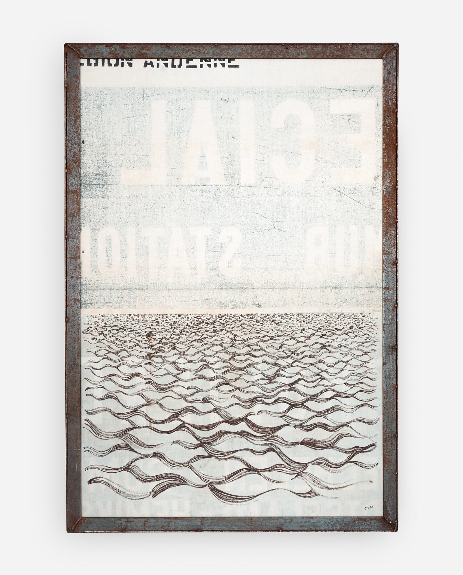 Distance  2013 60 x 88 x 10 cm · Gouache on sheets of destination signage & wood (within steel frame) · Sold