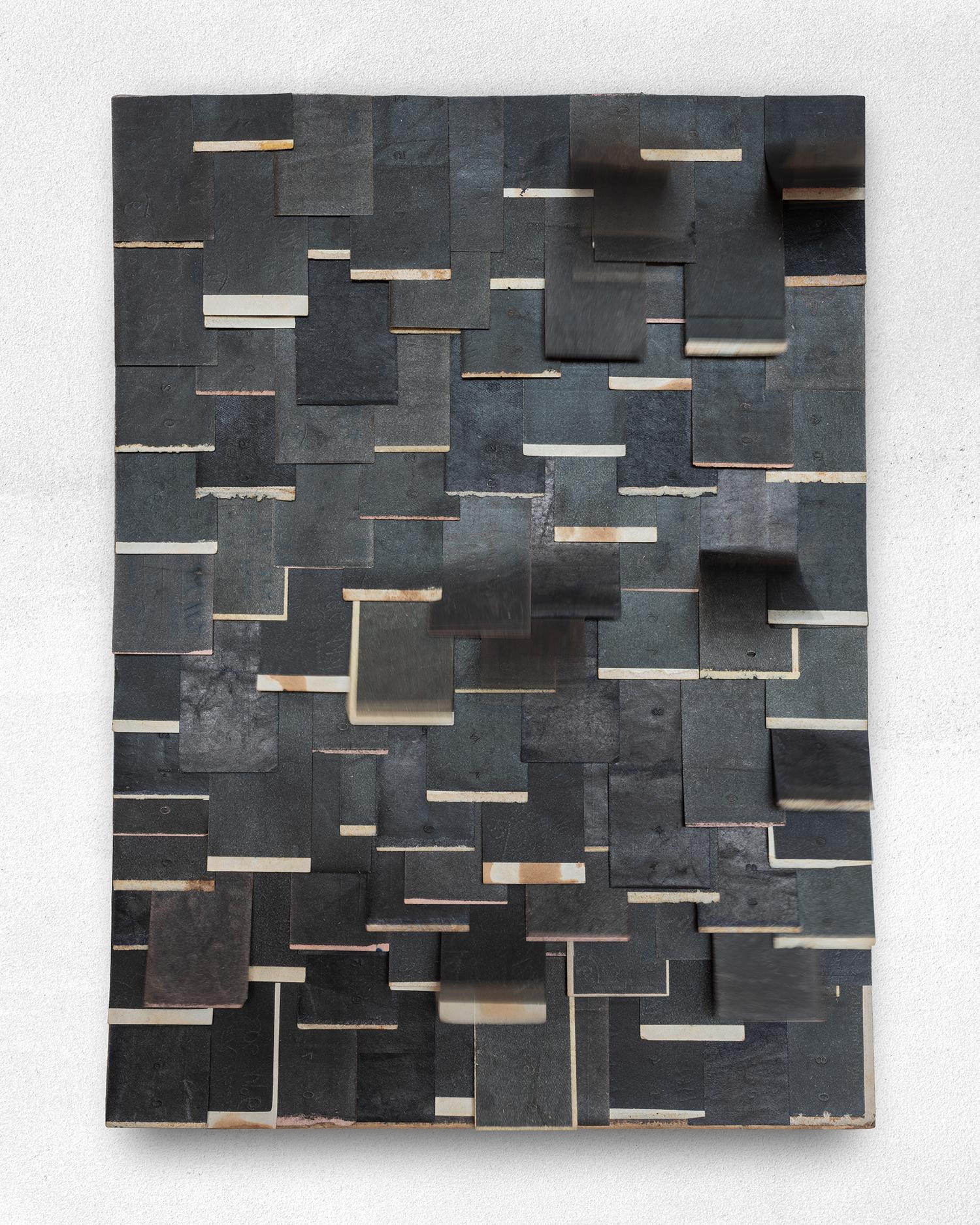 116mm Ago  2019 Found carbon-paper slips (upon found box-base) · 35 x 26 cm · TBA