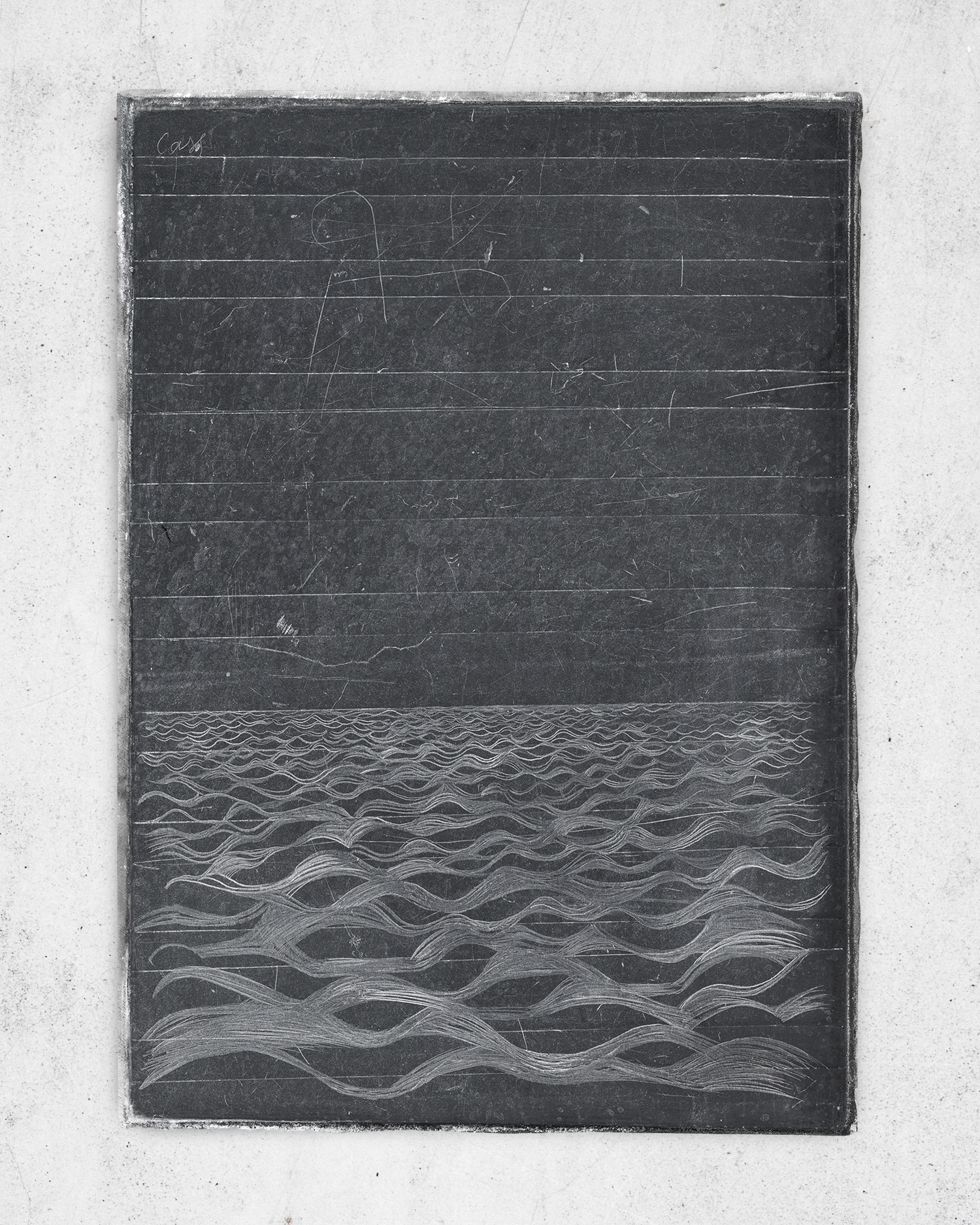James Scott Elliot's Slate  2011 (reworked 2018) The artist's Grandfather's school slate, etched