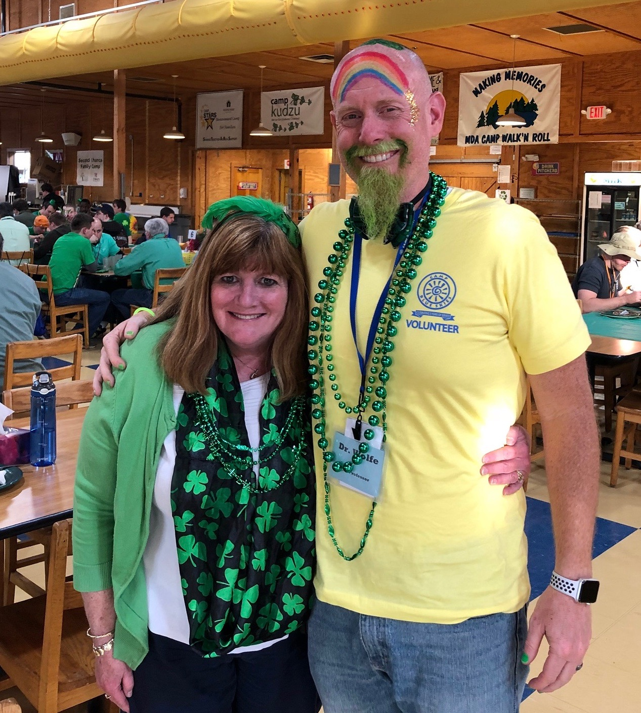 Dr. Jerri Kropp and Dr. Brent Wolfe can be counted on to get into the spirit of camp, especially for the green-themed dance on the last night.