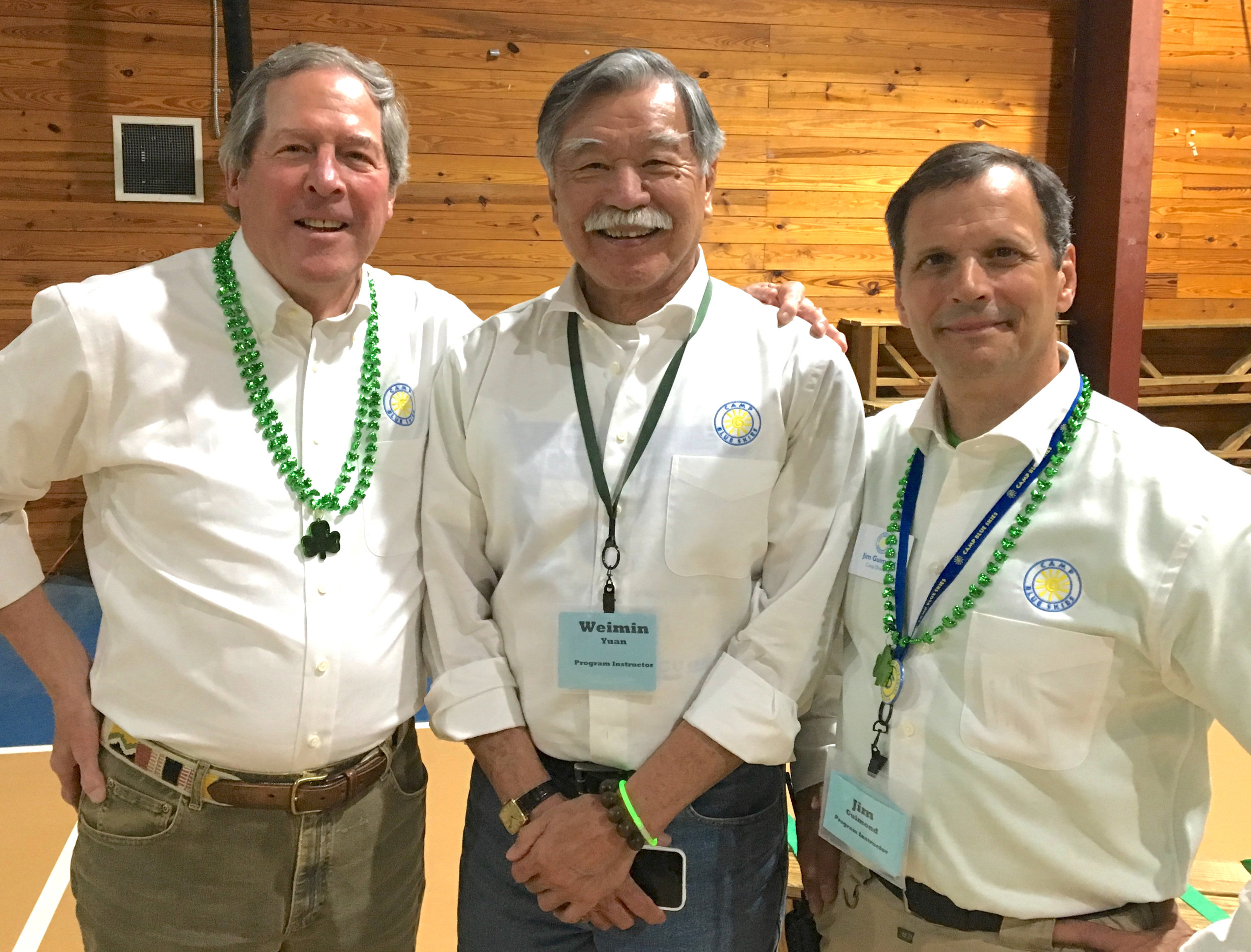 Looking dapper in the Forrest Lennard shirts are (from left) Camp Blue Skies Founder Dick Sesler, volunteer Weiman Yuan and Camp Director Jim Guimond.
