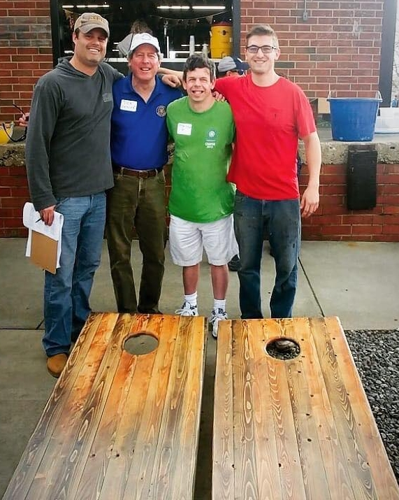 From left: Cornhole For Camp organizer and Board of Directors member Jon Beall, Founder Dick Sesler, Brent Sesler and Dave Rudel of Cut. Chop. Serve.