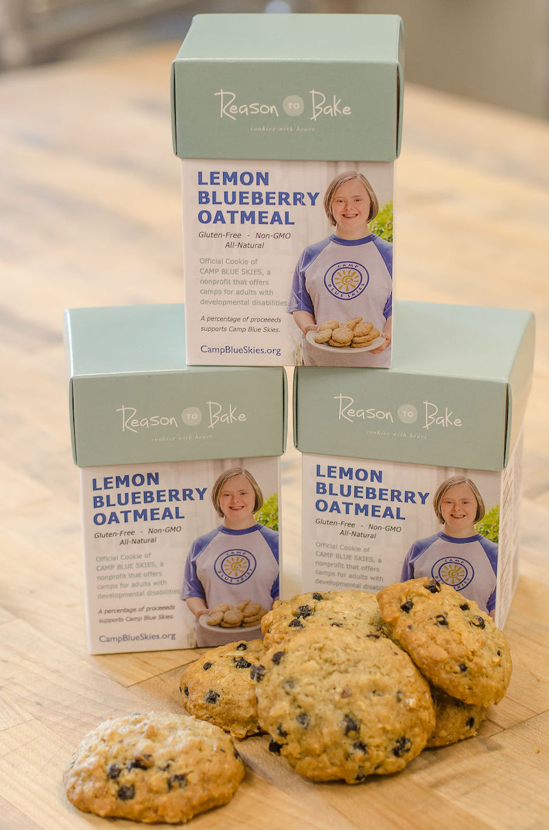 A great cookiefor a great cause! - Elise Sampson of Reason To Bake Cookies and her daughter, Carolyn, one of our campers, created a Lemon Blueberry Oatmeal cookie to celebrate our 10th anniversary.A portion of proceeds will be donated to Camp Blue Skies Foundation. A box of six cookies is $10 on ReasonToBake.com. Read more about the cookie.