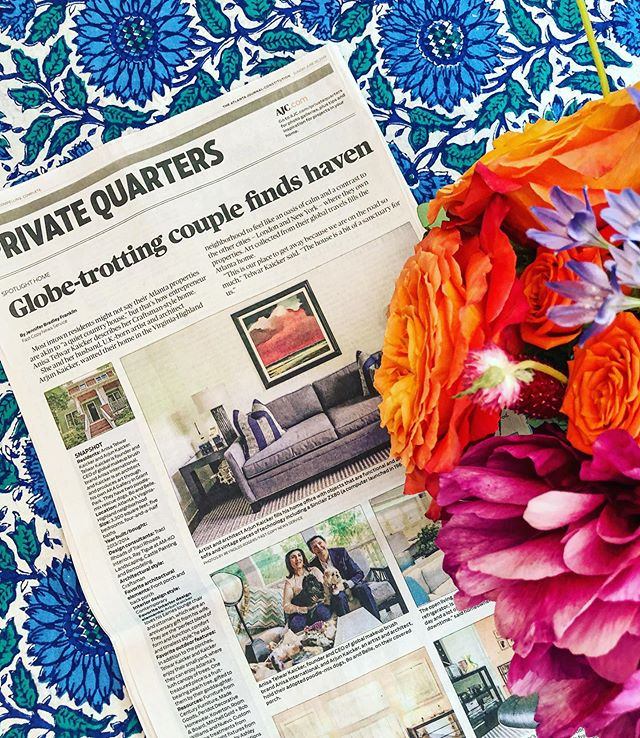 "Fellow achievement junkies (read: freelancers!) will understand, but is there any feeling like seeing your byline in a new publication? I loved having my first story in @ajcnews with a ""Private Quarters"" feature on the art-filled home of entrepreneur @therealatk (founder of @anisaintl) and artist / architect @arjunkaicker - cute rescue pups included!"