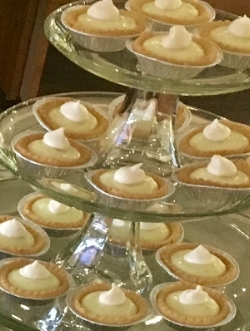 Recently during our ladies night at the store, I used frozen sweetened pastry tart shells and piped them with vanilla custard. (2 dozen shells)