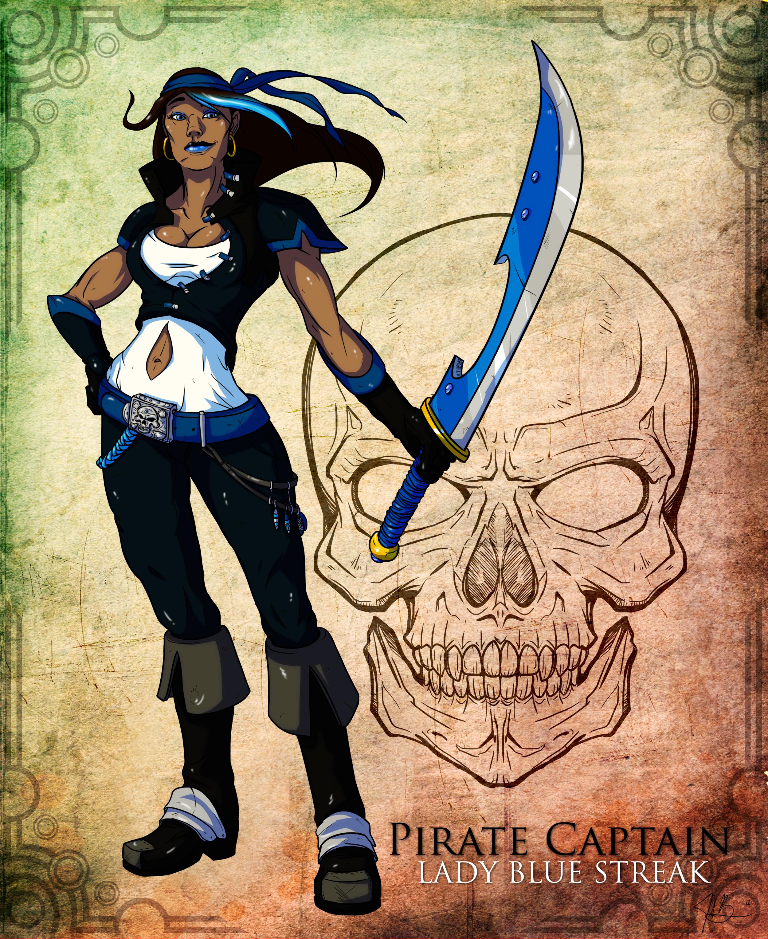 Pirate Captain Lady Blue Streak