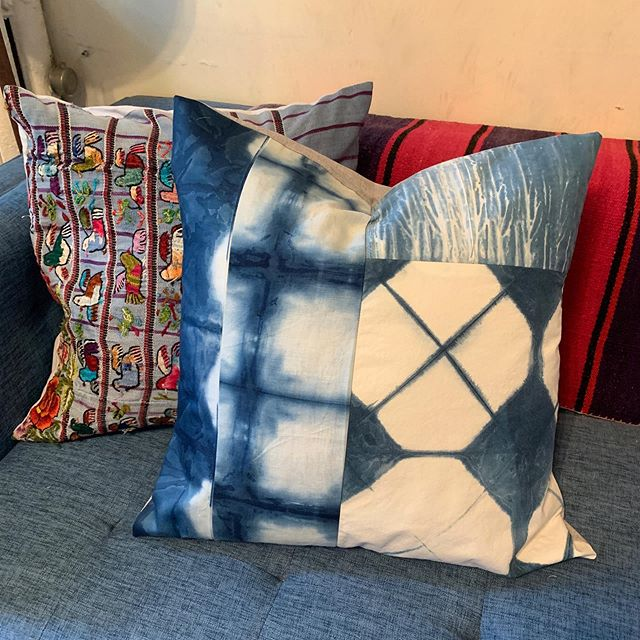 A sneak peak of the shibori quilted pillows I made this weekend! Styled with an up cycled huipil pillow from a vintage Guatemalan poncho. Too cute 💙💙 . . . #shibori #shiboridye #quilting #pillows #etsyseller #onyxmatter #indigo #indigotiedye #huipil #textiledesign #handmade