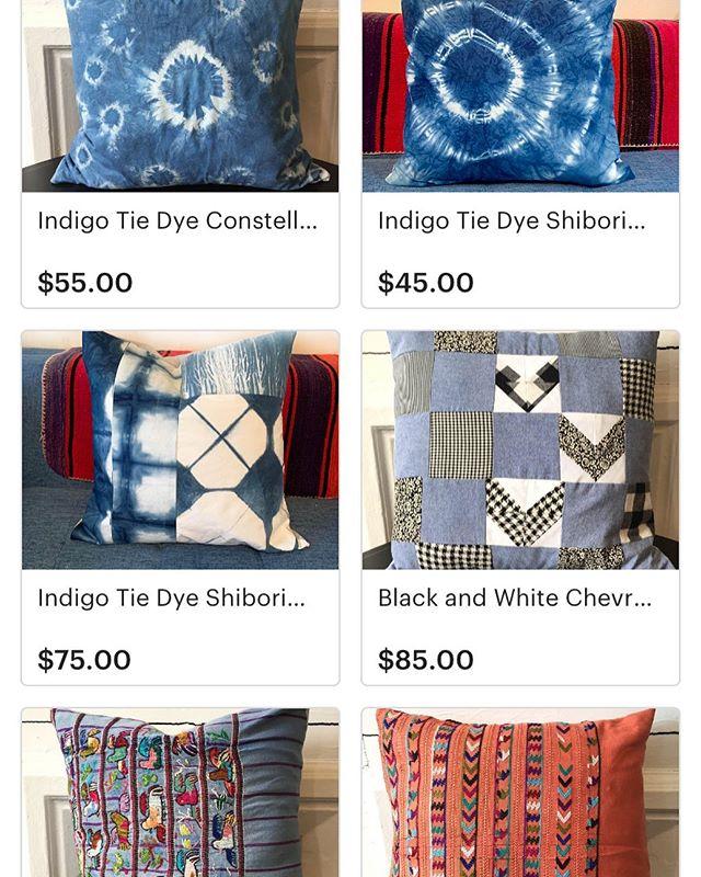 New Listings for sale on Etsy! Link in bio. Custom projects always welcome. 😘 . . . #shibori #shiboridye #quiltedpillow #indigotiedye #pillow #interiordesign #textiledesign #etsyseller #etsysellerofinstagram #huipil #huipilpillows #handmadepillow