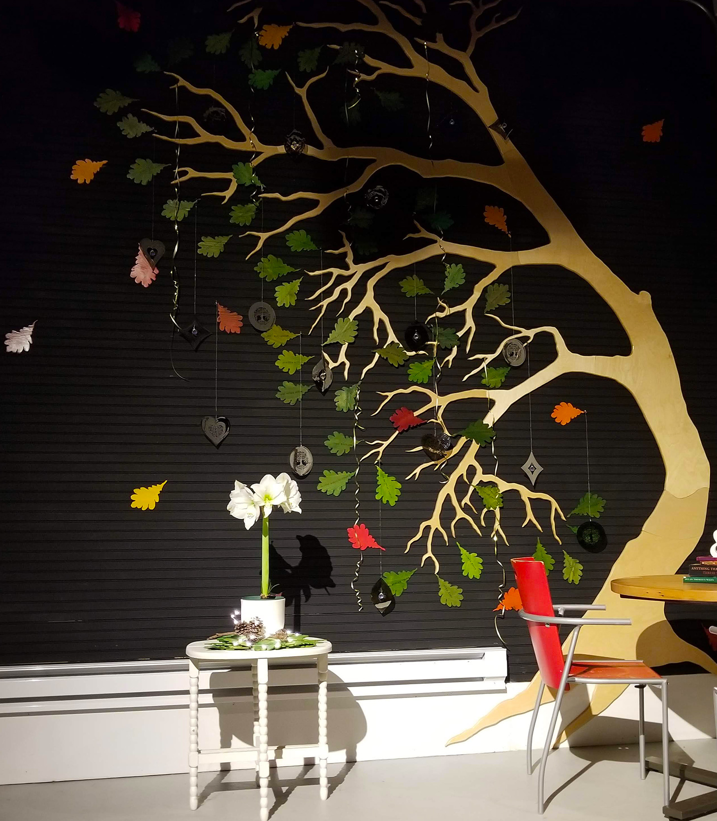 We'll never take it down. - In 2017, inspired by the Walt Whitman poem below, we honored our Indiegogo supporters with an art installation: a tree decked out in leaves inscribed with their names.Receive your own leaf—in your name, the name of your favorite poet, or a memorial gift in honor of a loved one—with your year-end tax-deductible contribution of $250 or more.