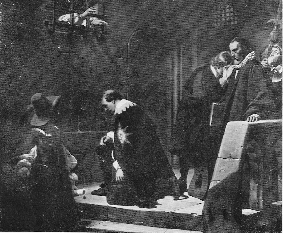 Wentworth receives final blessing from imprisoned Archbishop Laud, by Paul Delaroche, 1835 Wikimedia commons, public domain