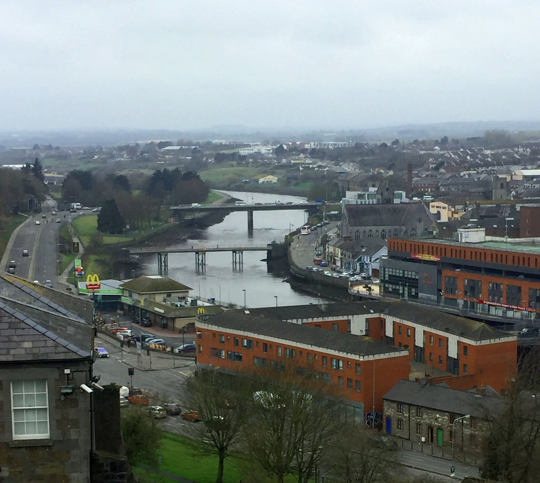 Drogheda and the River Boyne, taken from Millmount Fort (author's image)