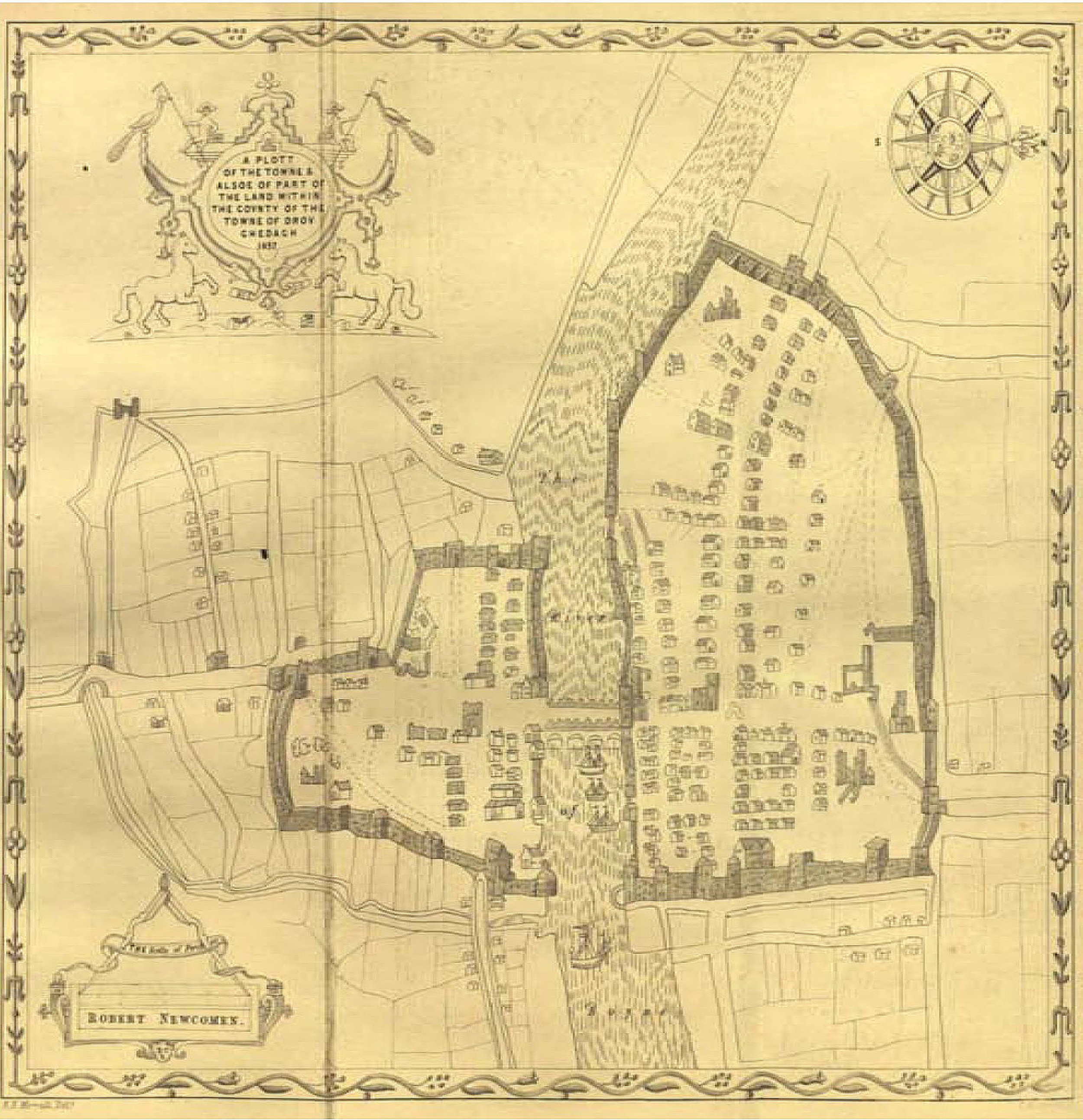Map dated 1657 shows ships on the river, indicating Drogheda's long importance as a port town.