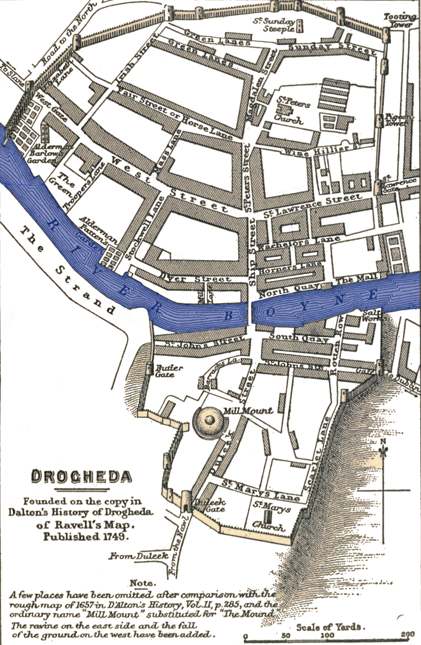 Plan of Drogheda,  Gardiner, Samuel Rawson  and F.S. Weller (illustrator) -  History of the Commonwealth and Protectorate, 1649-1656  (1903) volume 1  page 113 , Public Domain