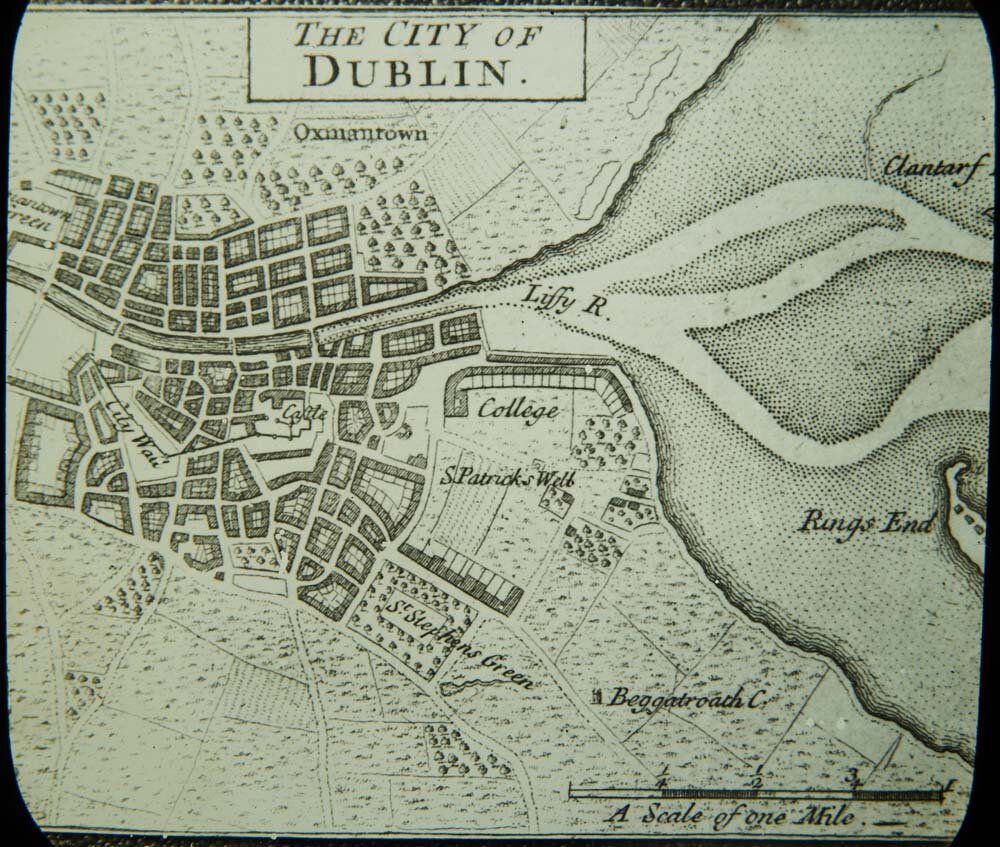 John Speed's Map of 1610 Dublin shows much growth outside of the City Walls