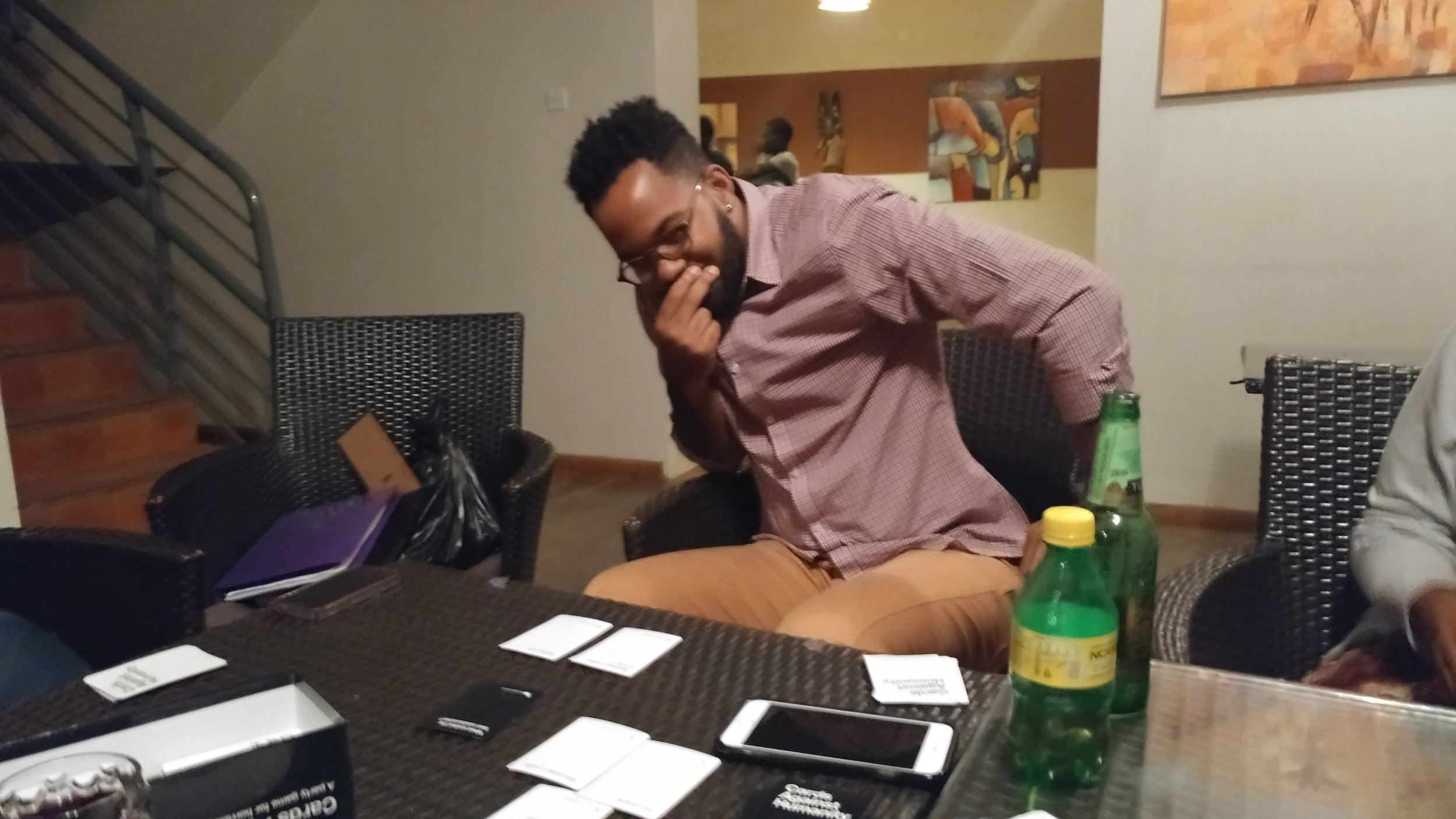 The late night games of Cards Against Humanity got pretty intense. Right, Temesgen?